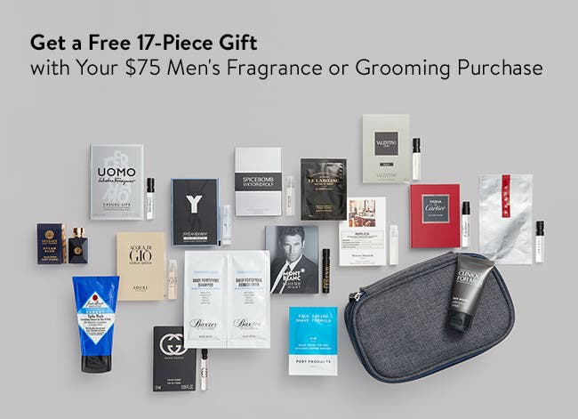 Free 17-piece gift with your $75 men's fragrance or grooming purchase.