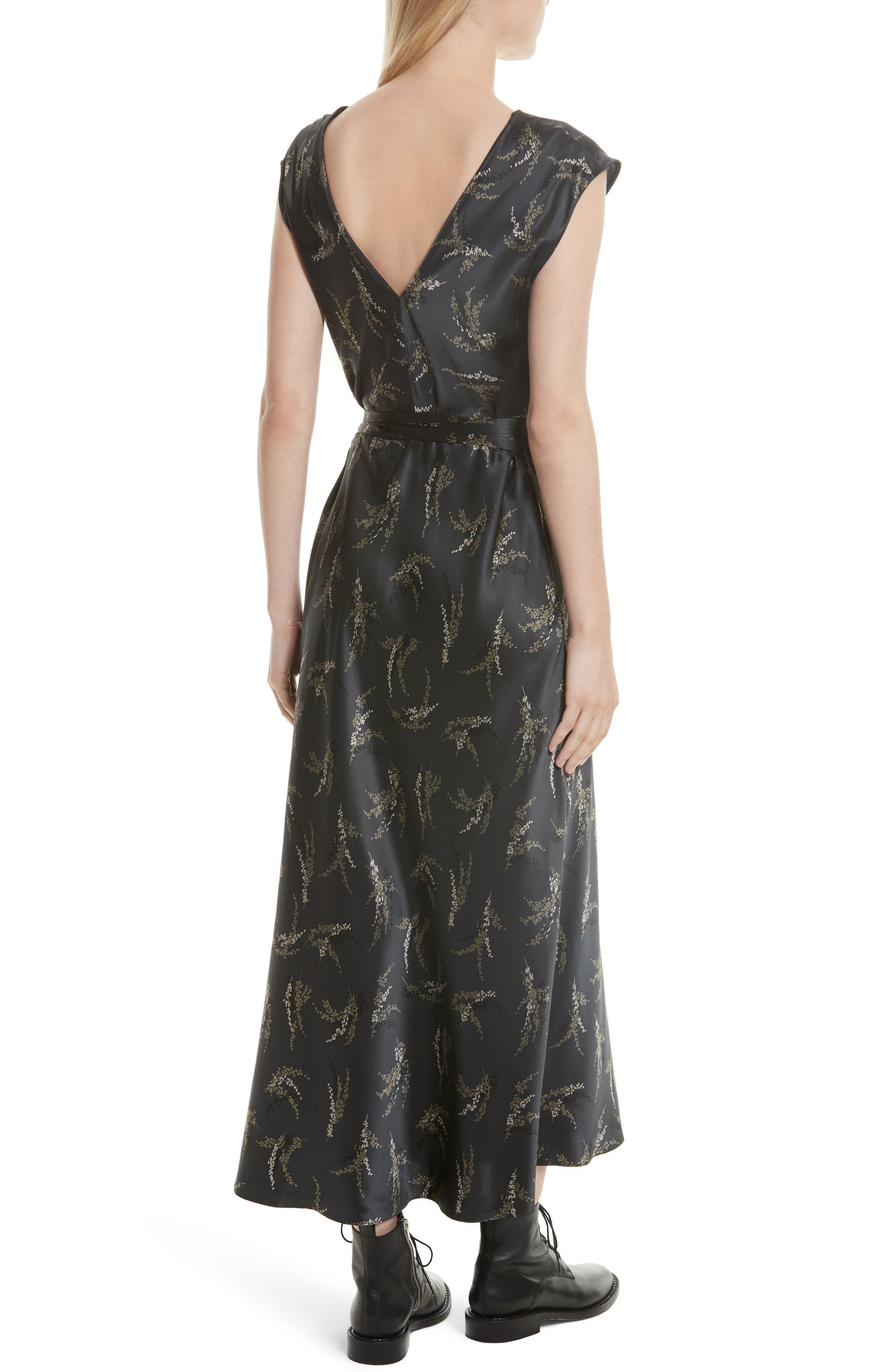 Spring Floral Faux Wrap Silk Dress,                             Alternate thumbnail 2, color,                             021