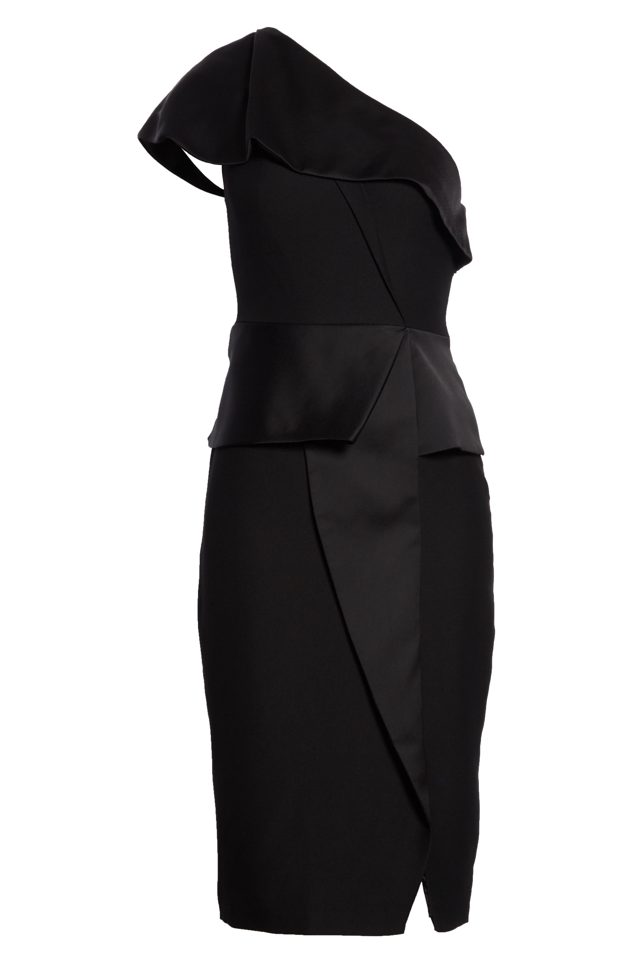 Pana One-Shoulder Peplum Sheath Dress,                             Alternate thumbnail 6, color,                             001