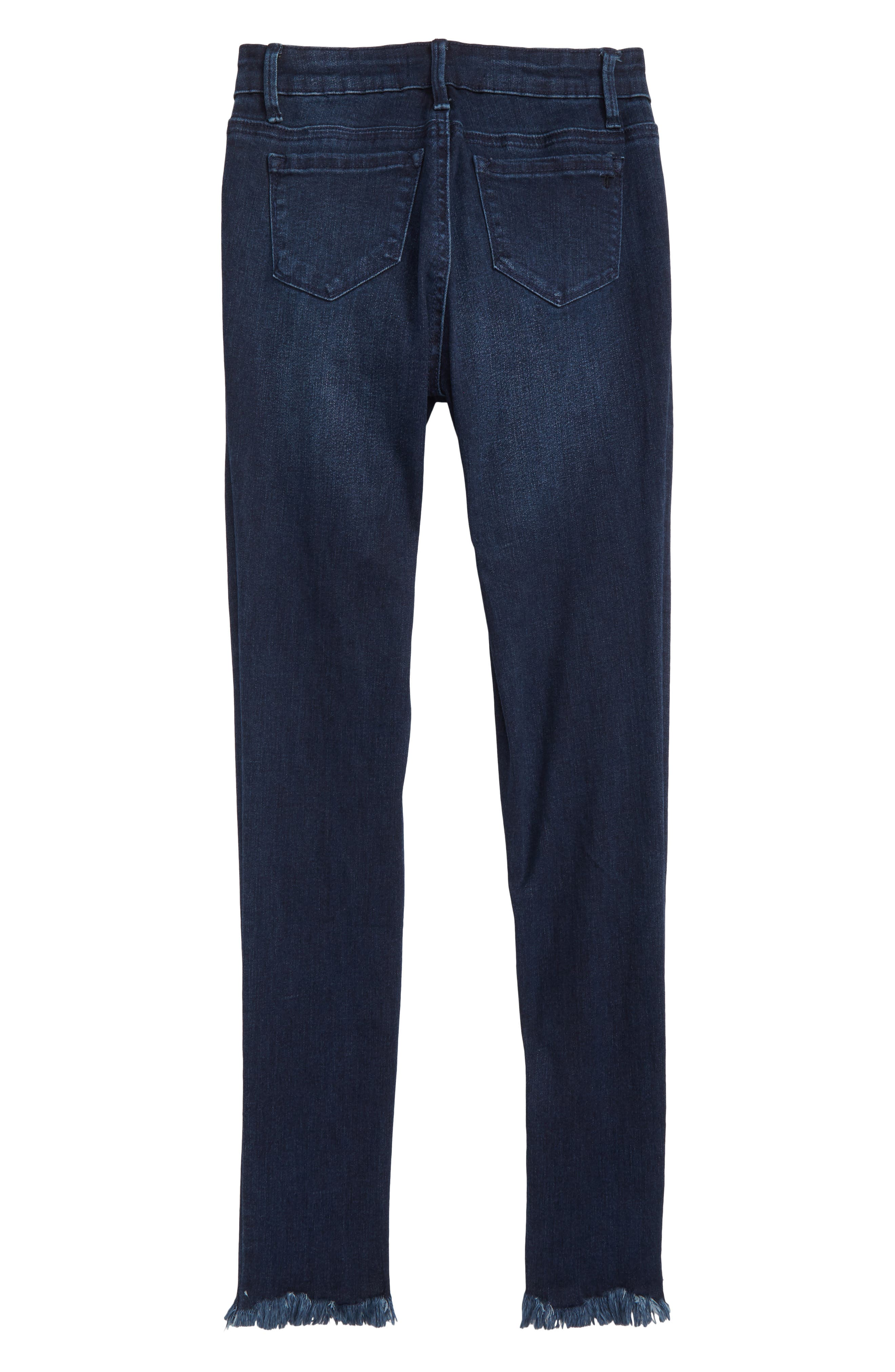 Studded Fray Hem Skinny Jeans,                             Alternate thumbnail 2, color,                             INDIGO