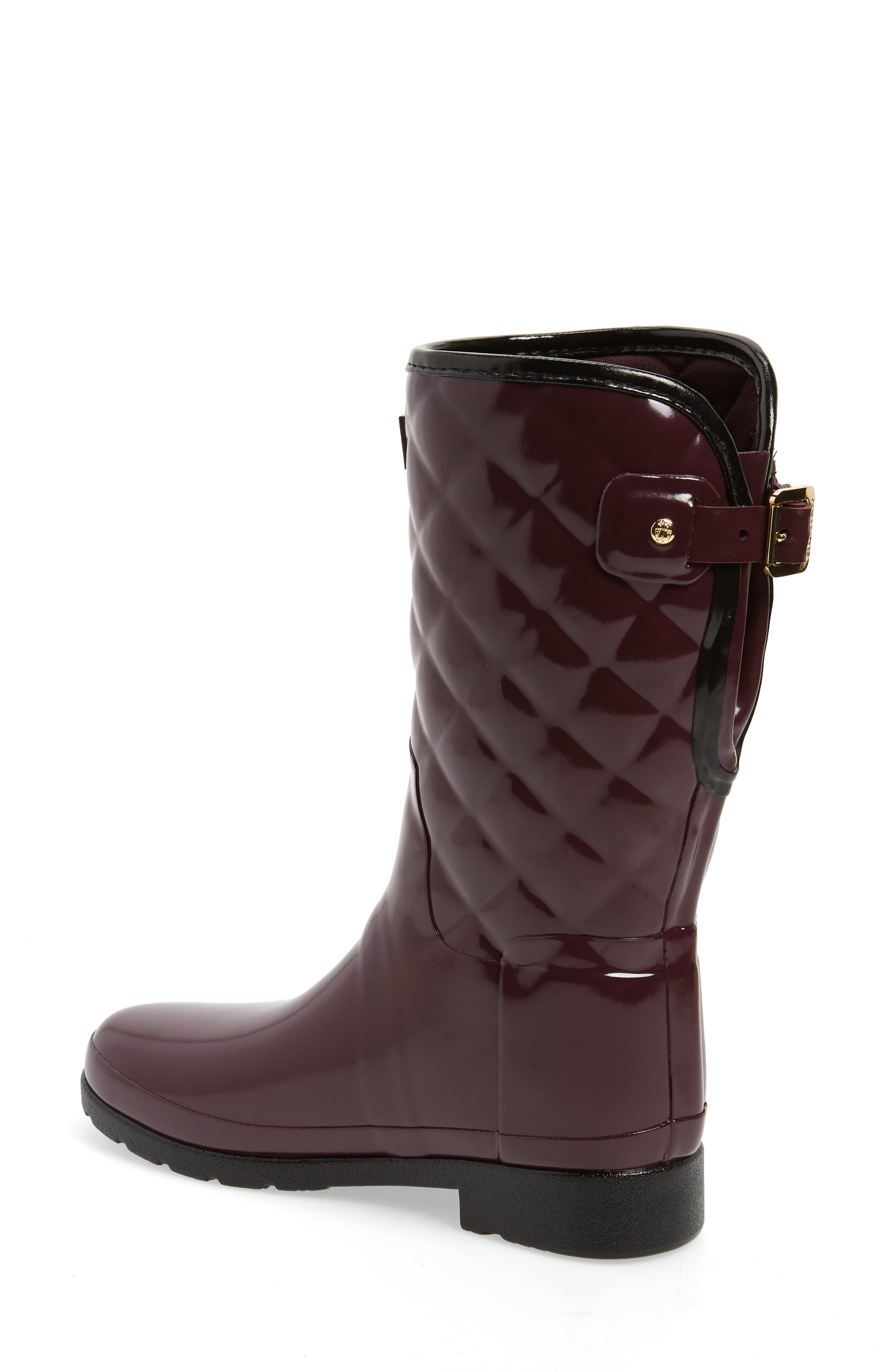 Refined High Gloss Quilted Short Waterproof Rain Boot,                             Alternate thumbnail 2, color,                             OXBLOOD