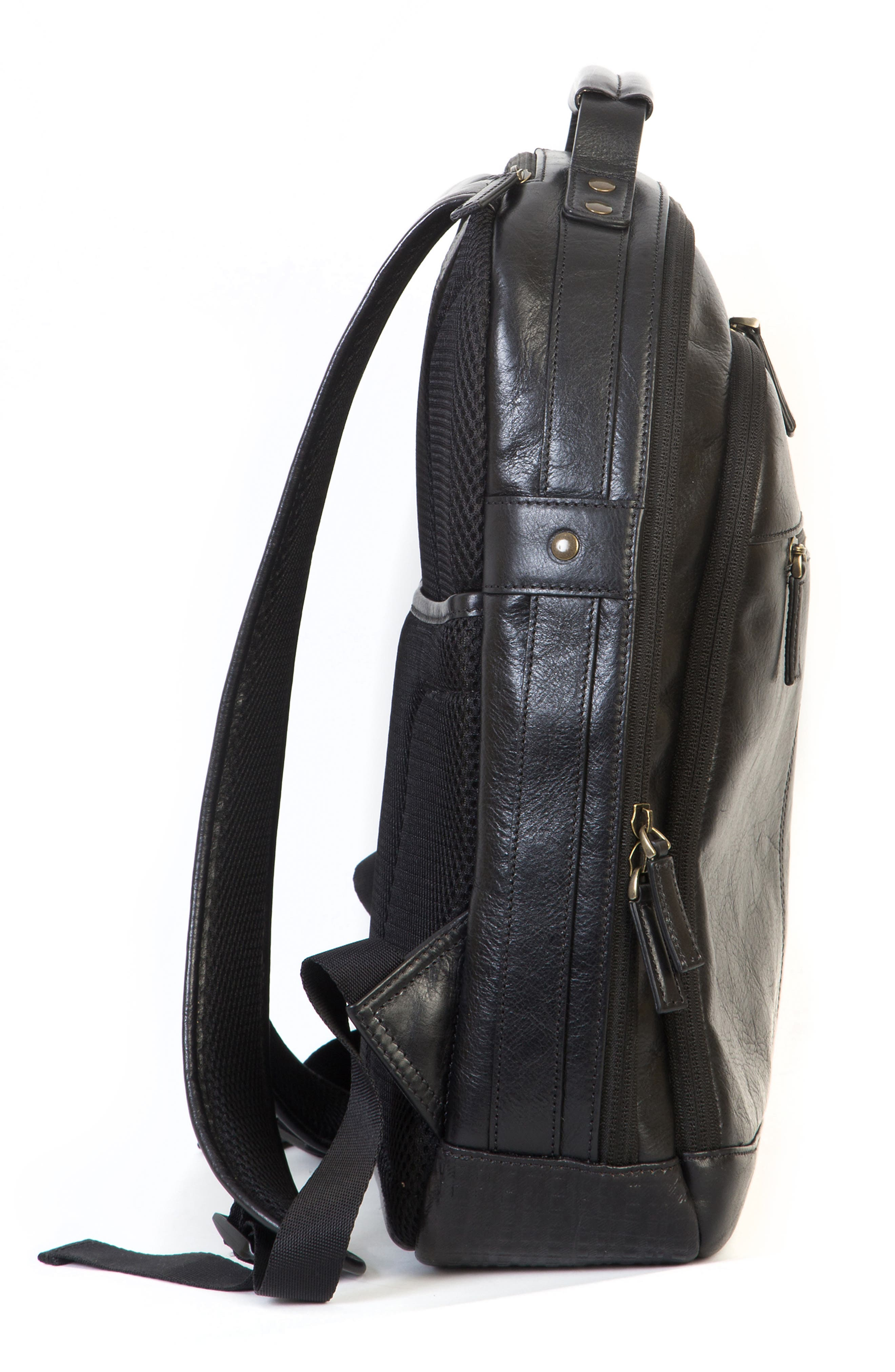 'Becker' Leather Backpack,                             Alternate thumbnail 6, color,                             001