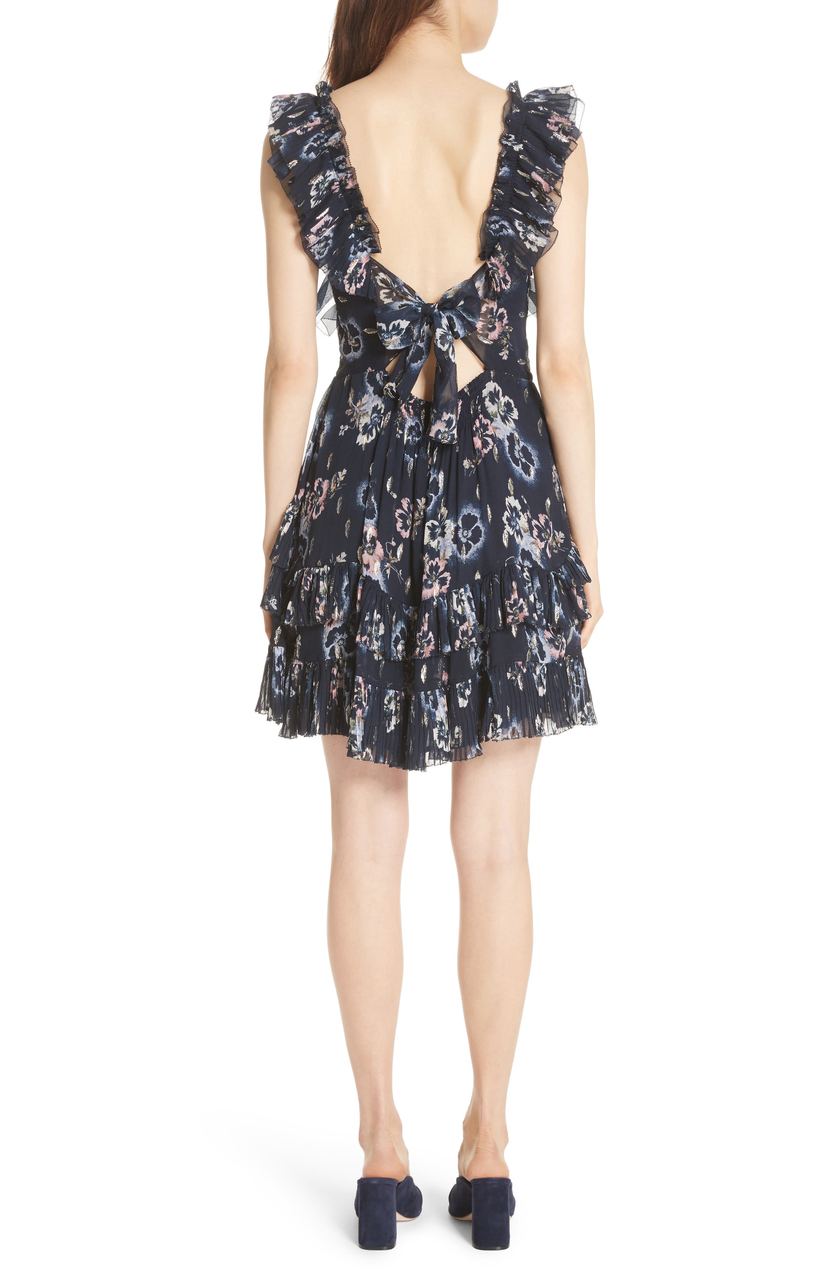 Faded Floral Fit & Flare Dress,                             Alternate thumbnail 2, color,                             NAVY