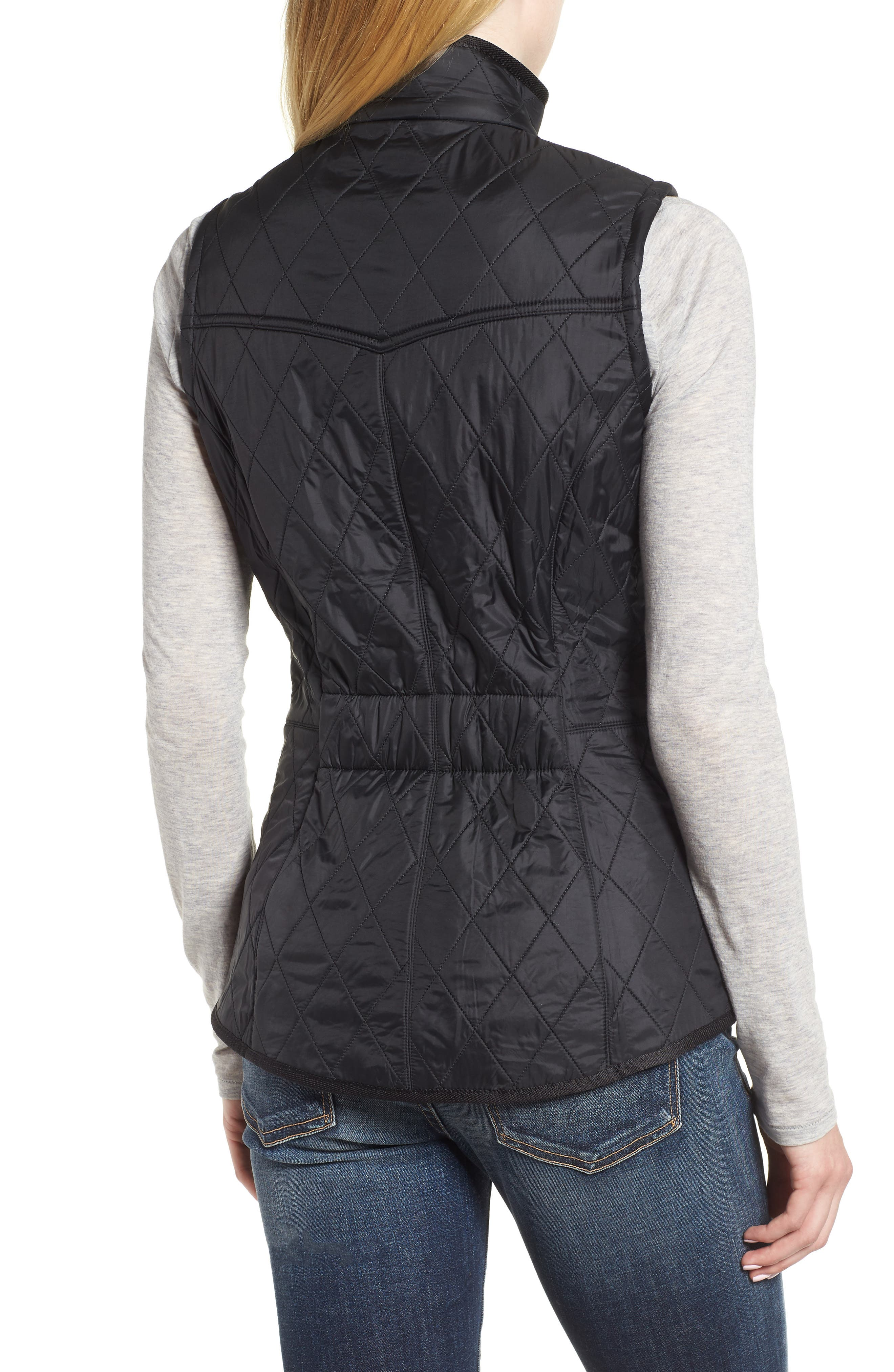 'Cavalry' Quilted Vest,                             Alternate thumbnail 2, color,                             BLACK/ BLACK