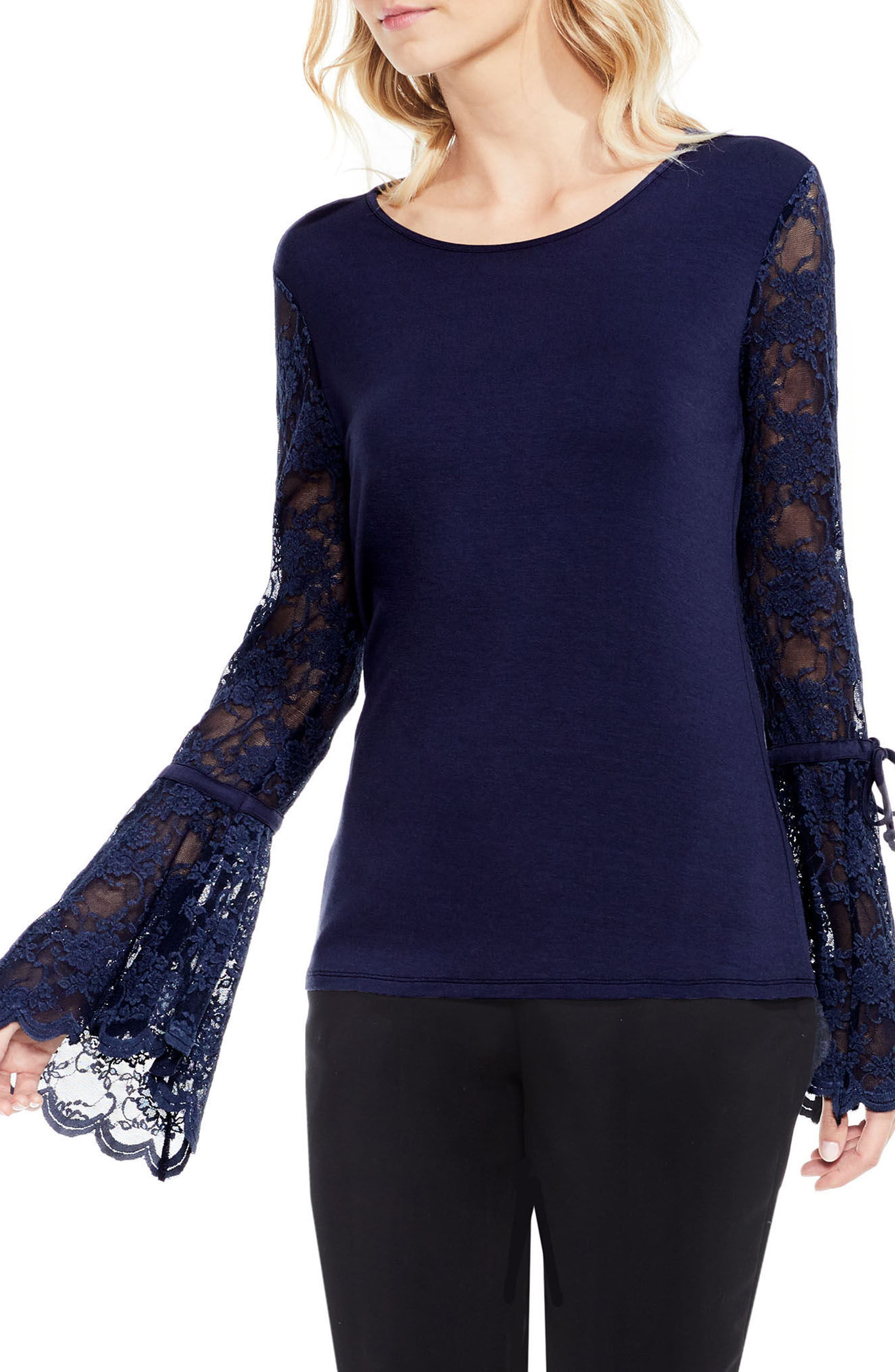 Lace Bell Sleeve Top,                             Main thumbnail 2, color,