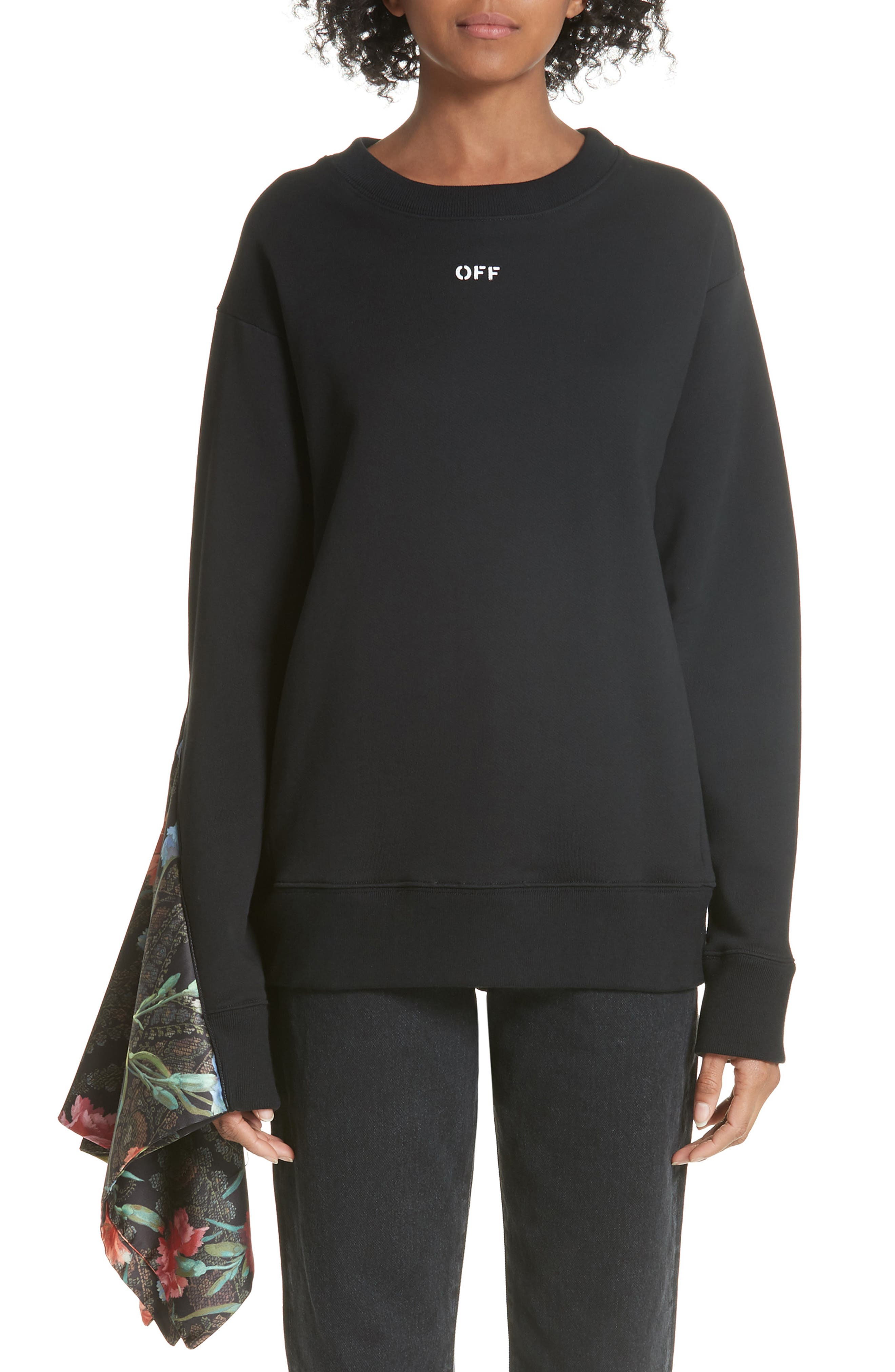 Foulard Sleeve Crewneck Sweatshirt,                             Main thumbnail 1, color,                             001