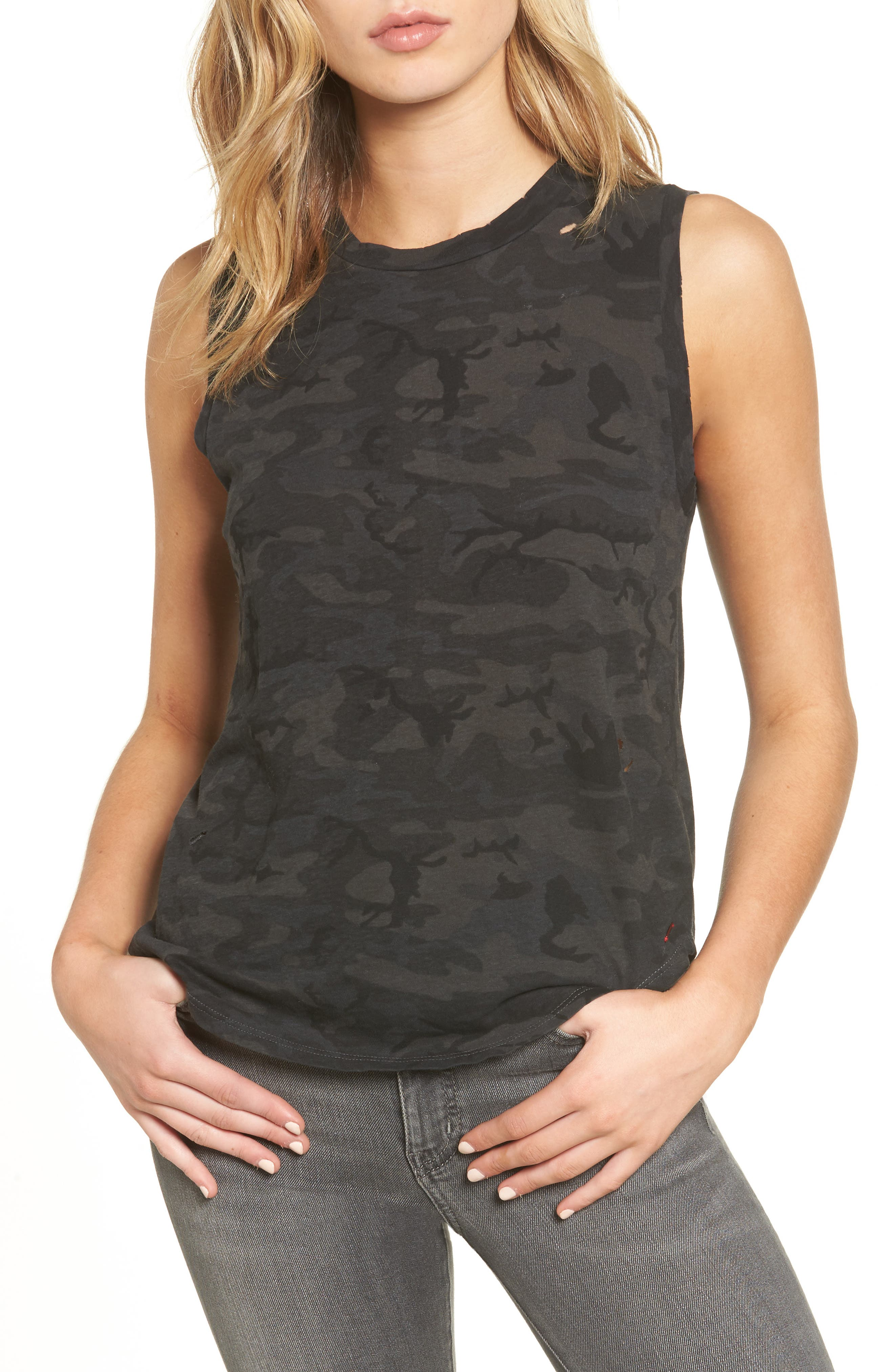 Corin Distressed Muscle Tank,                             Main thumbnail 1, color,                             318