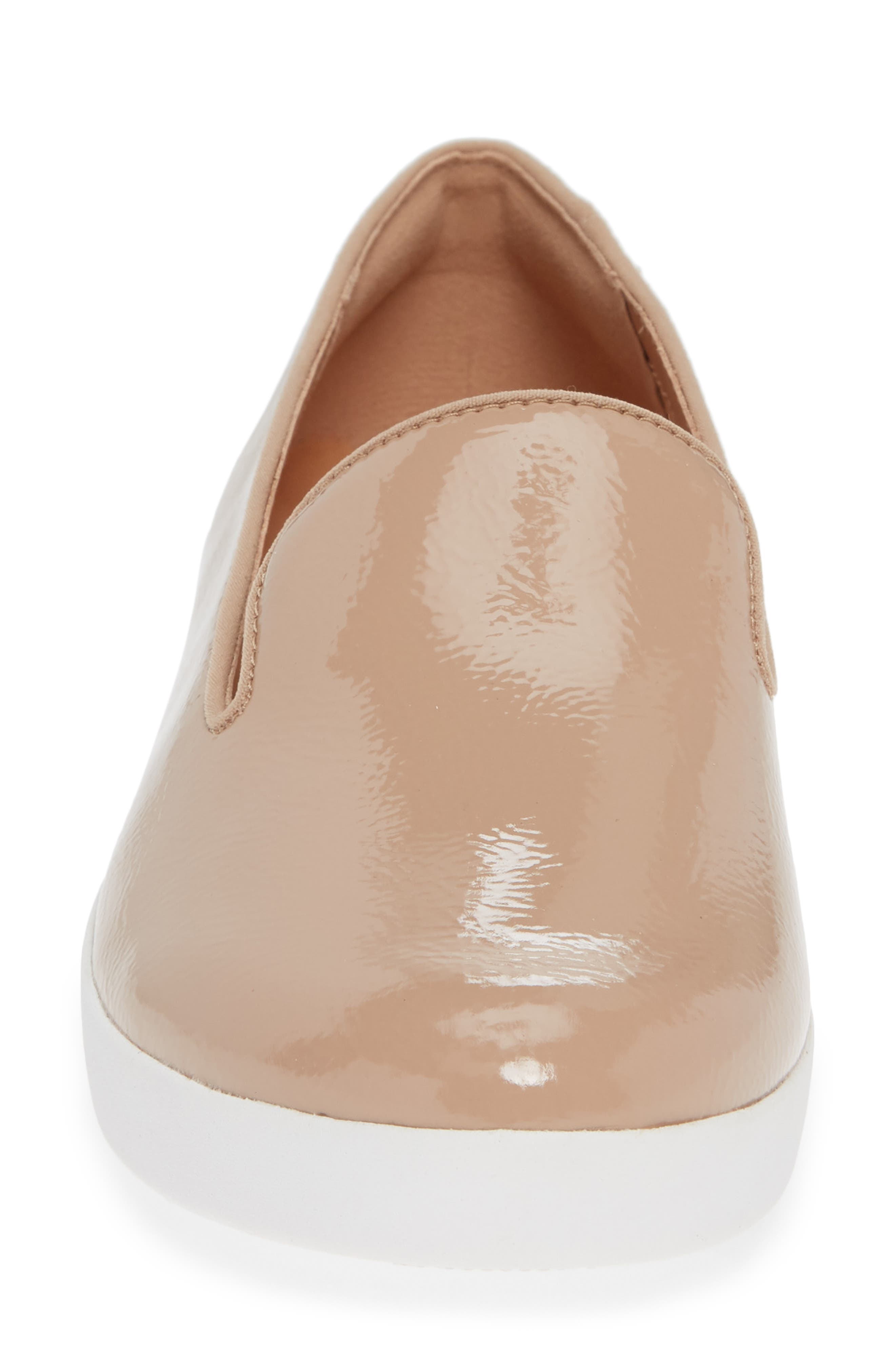 Audrey Smoking Slipper,                             Alternate thumbnail 4, color,                             TAUPE PATENT LEATHER