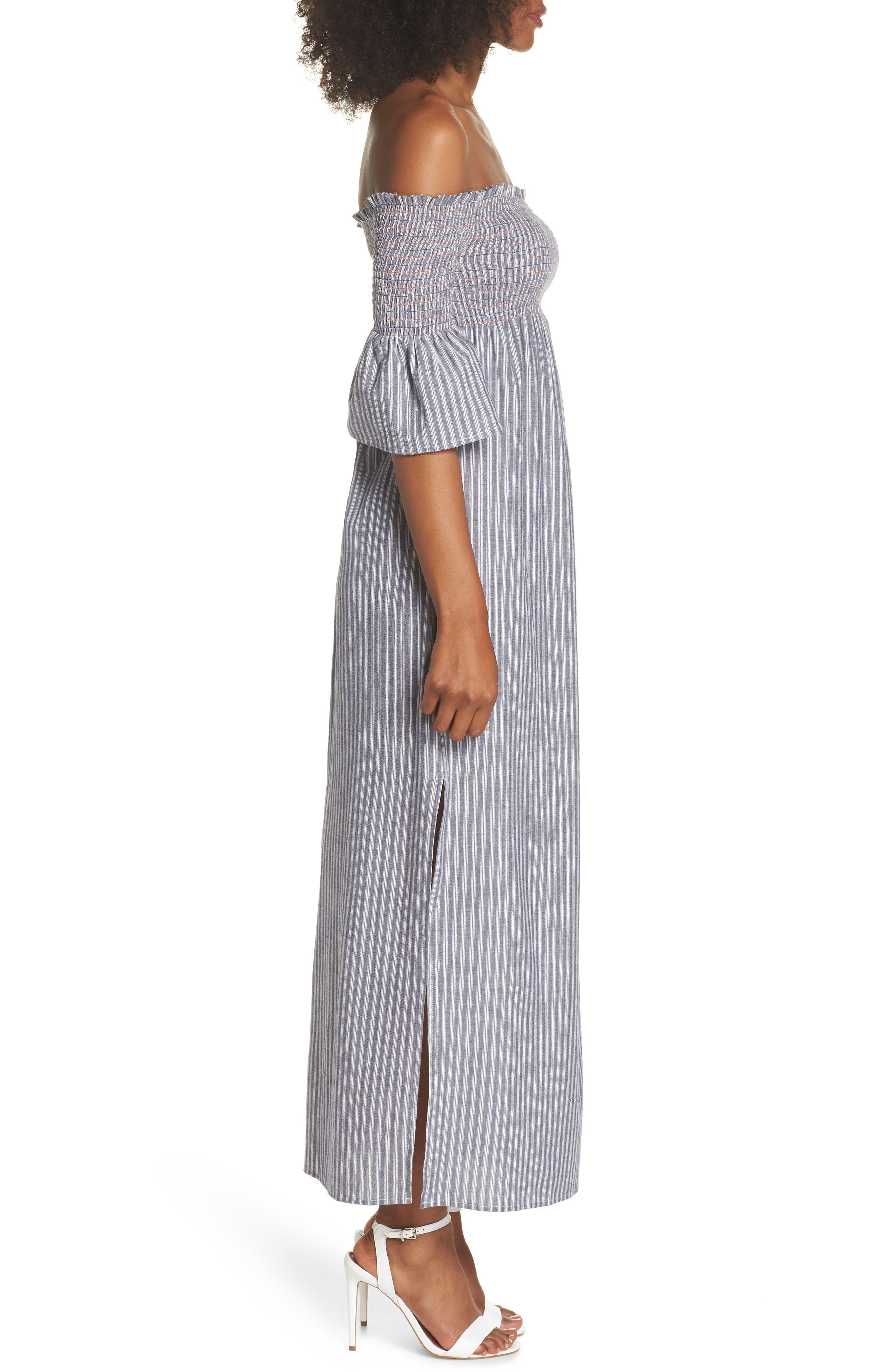 Carmel Smocked Off the Shoulder Maxi Dress,                             Alternate thumbnail 3, color,                             428