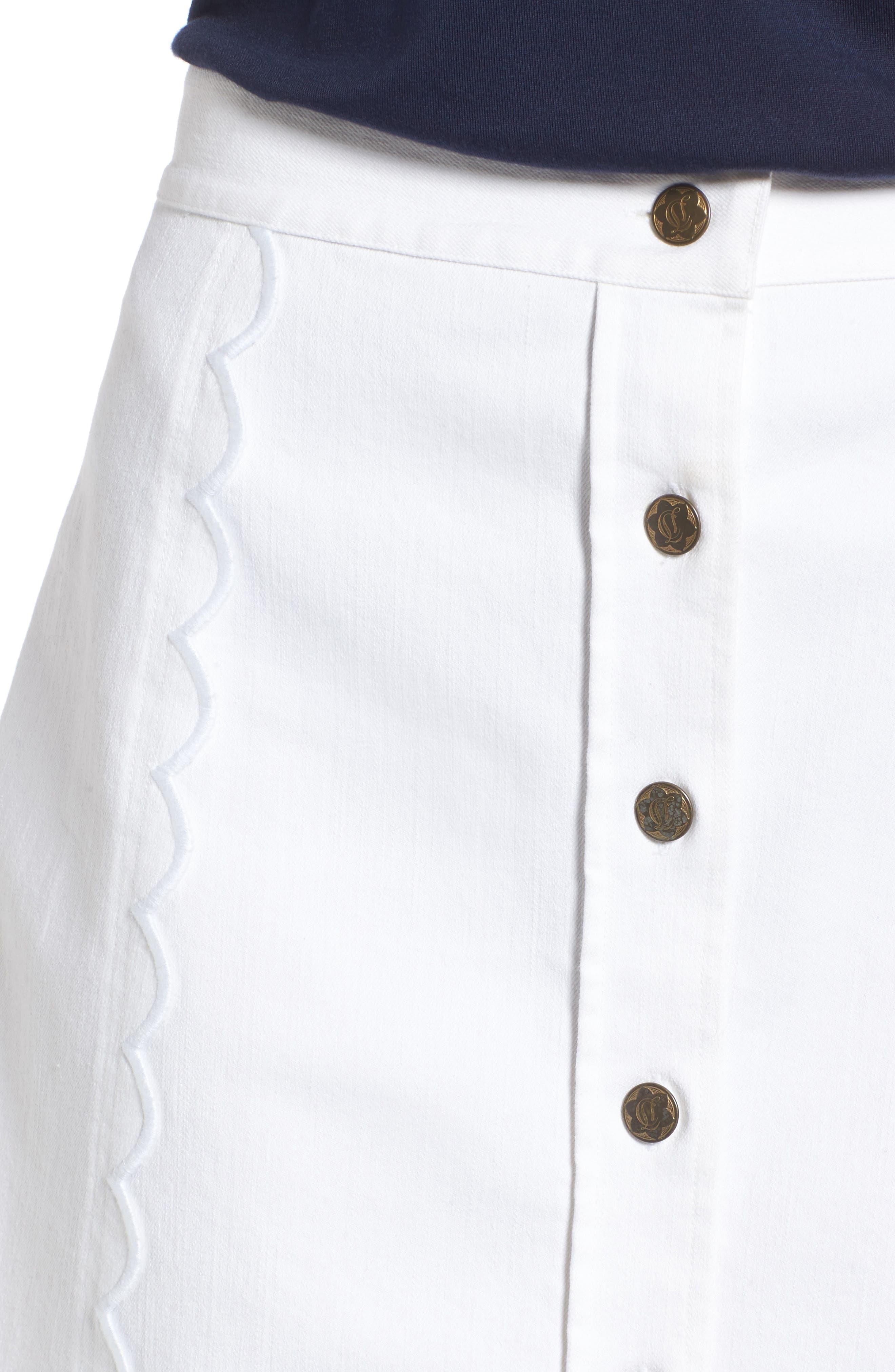 Stretch Denim Miniskirt,                             Alternate thumbnail 4, color,                             106