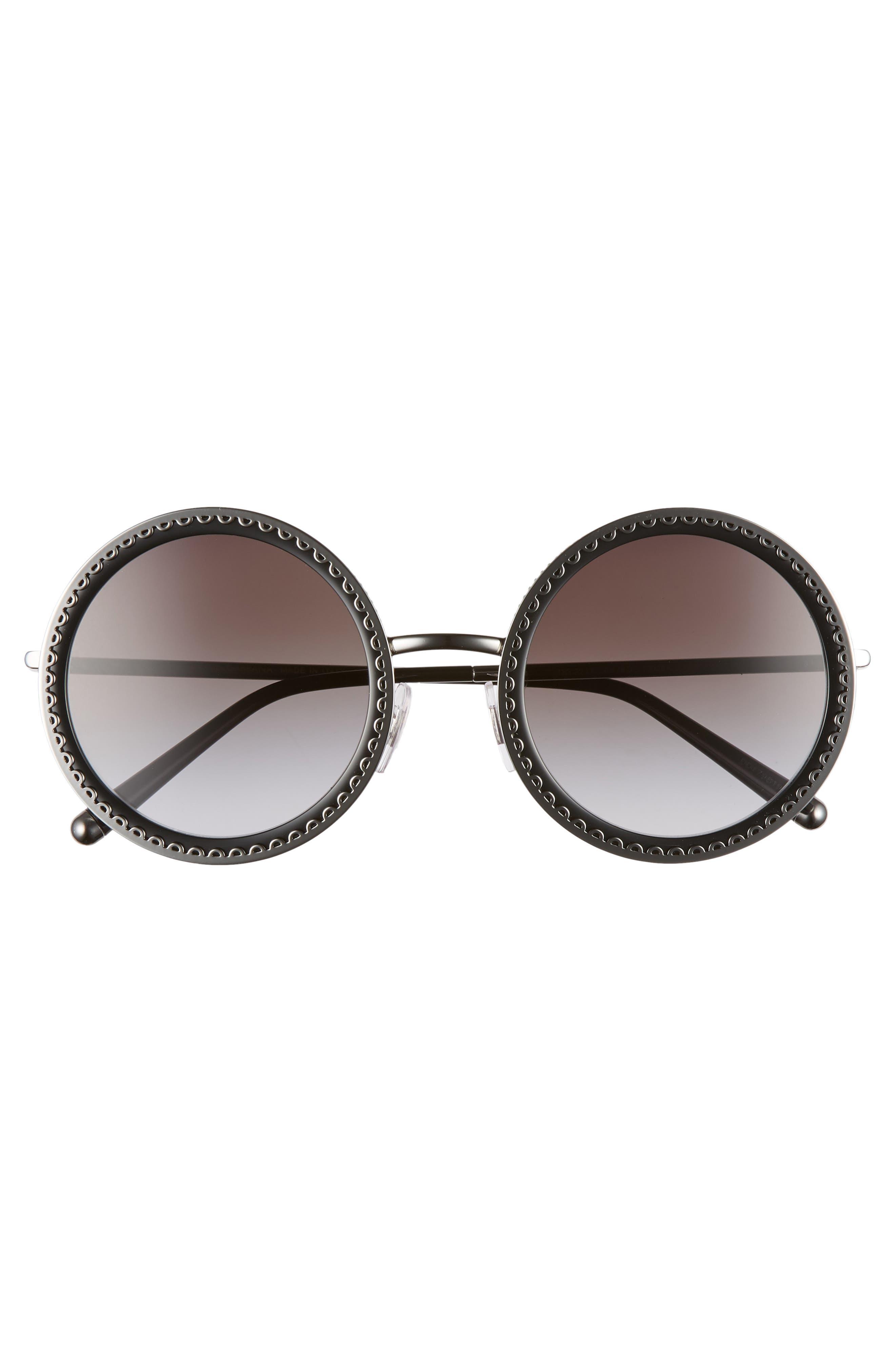 Sacred Heart 53mm Gradient Round Sunglasses,                             Alternate thumbnail 3, color,                             DARK GUNMETAL GRADIENT