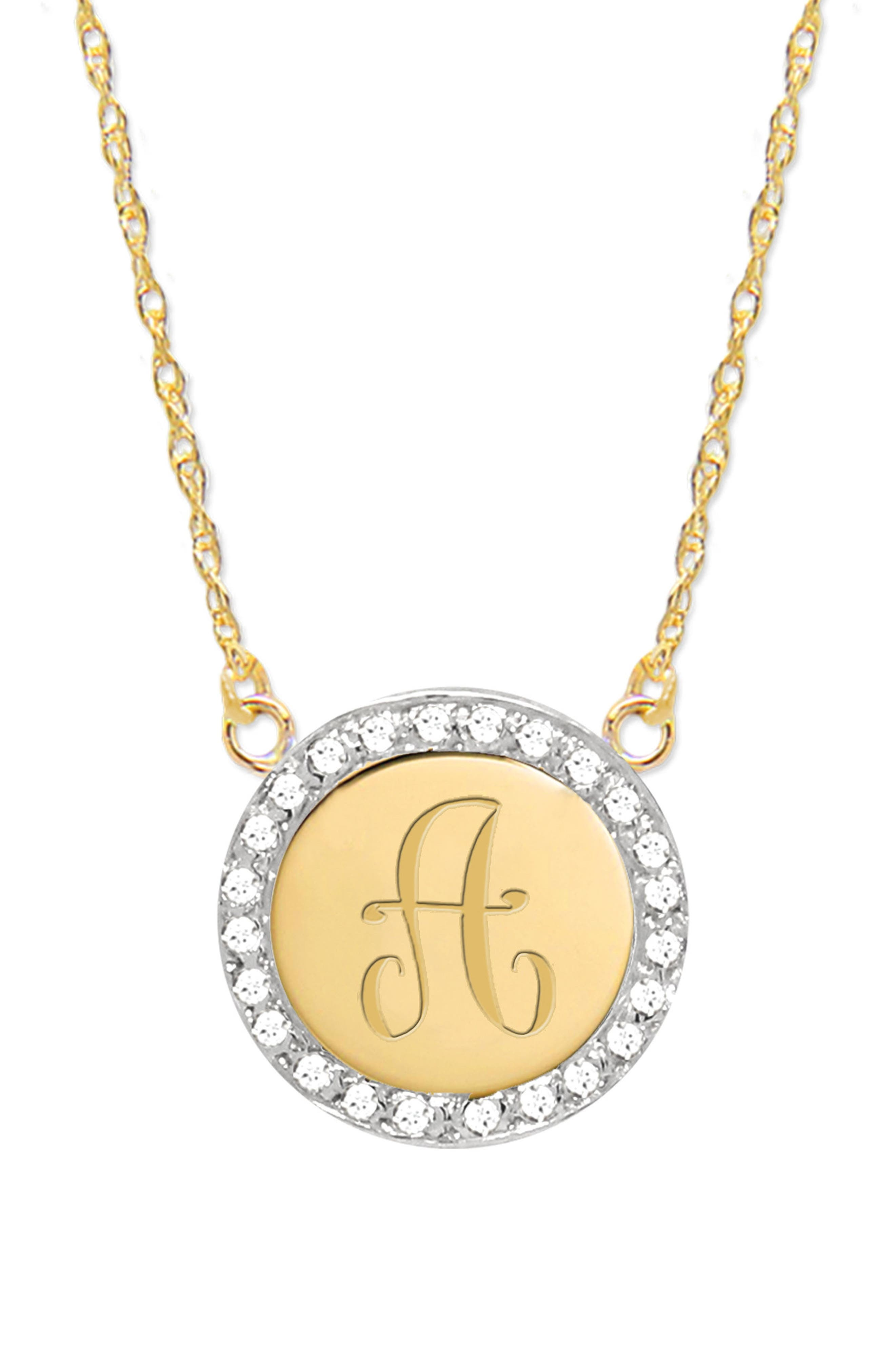 Diamond Halo Initial Pendant Necklace,                             Main thumbnail 1, color,                             GOLD- A