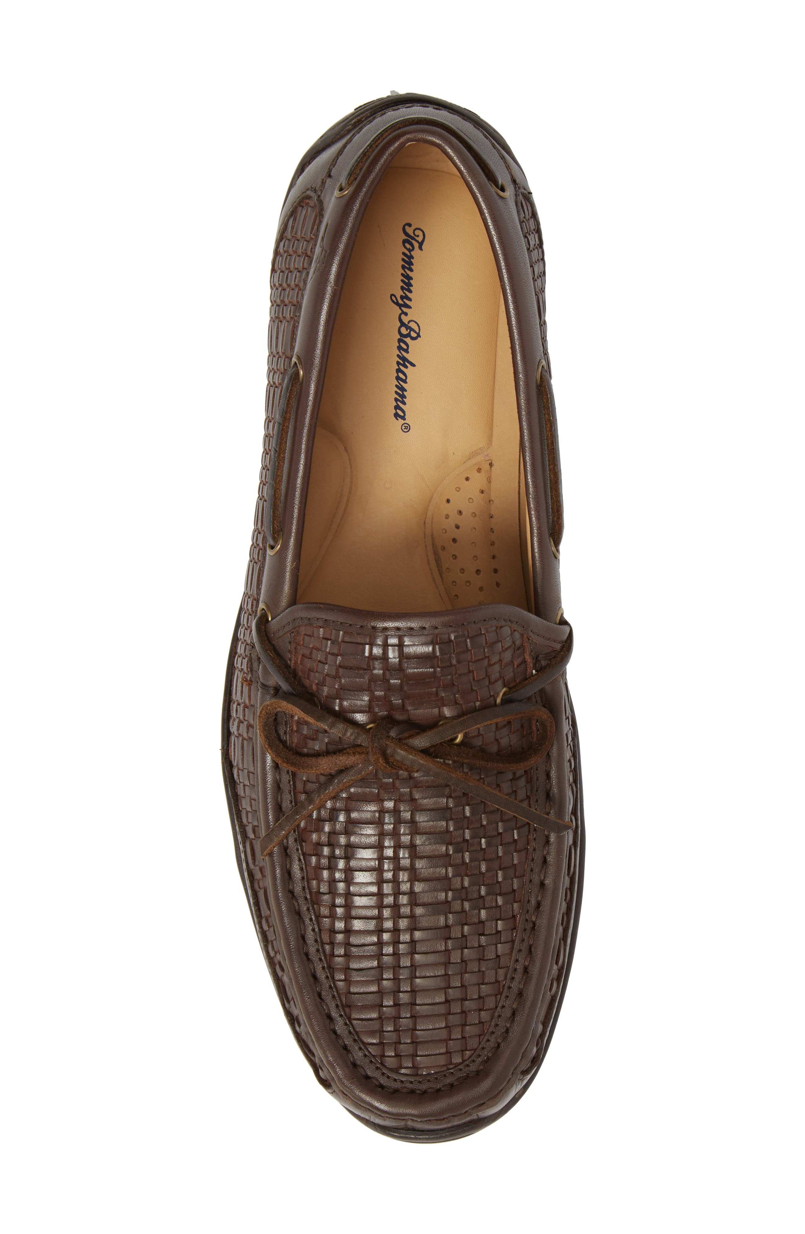 Tangier Driving Shoe,                             Alternate thumbnail 5, color,                             DARK BROWN WOVEN LEATHER
