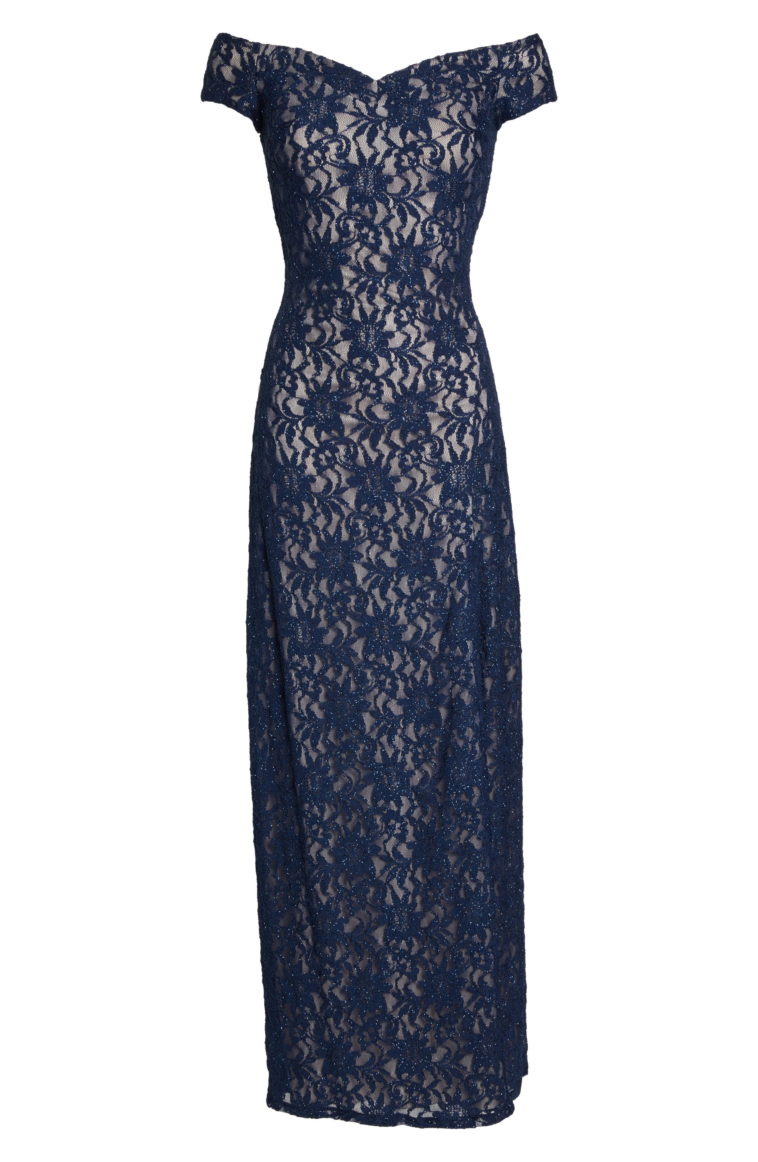 Off the Shoulder Glitter Lace Gown,                             Alternate thumbnail 6, color,