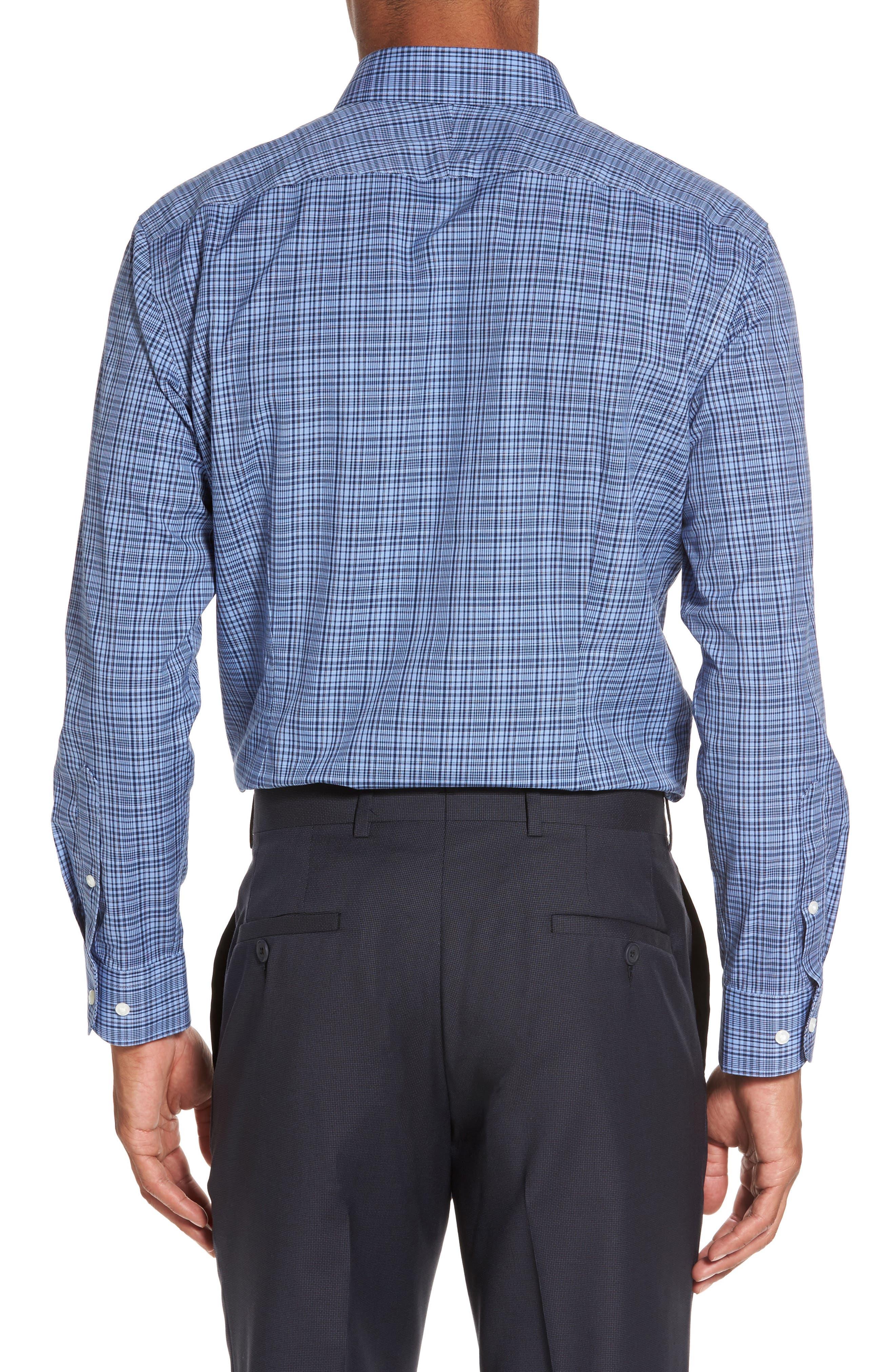 Smartcare<sup>™</sup> Extra Trim Fit Check Dress Shirt,                             Alternate thumbnail 2, color,