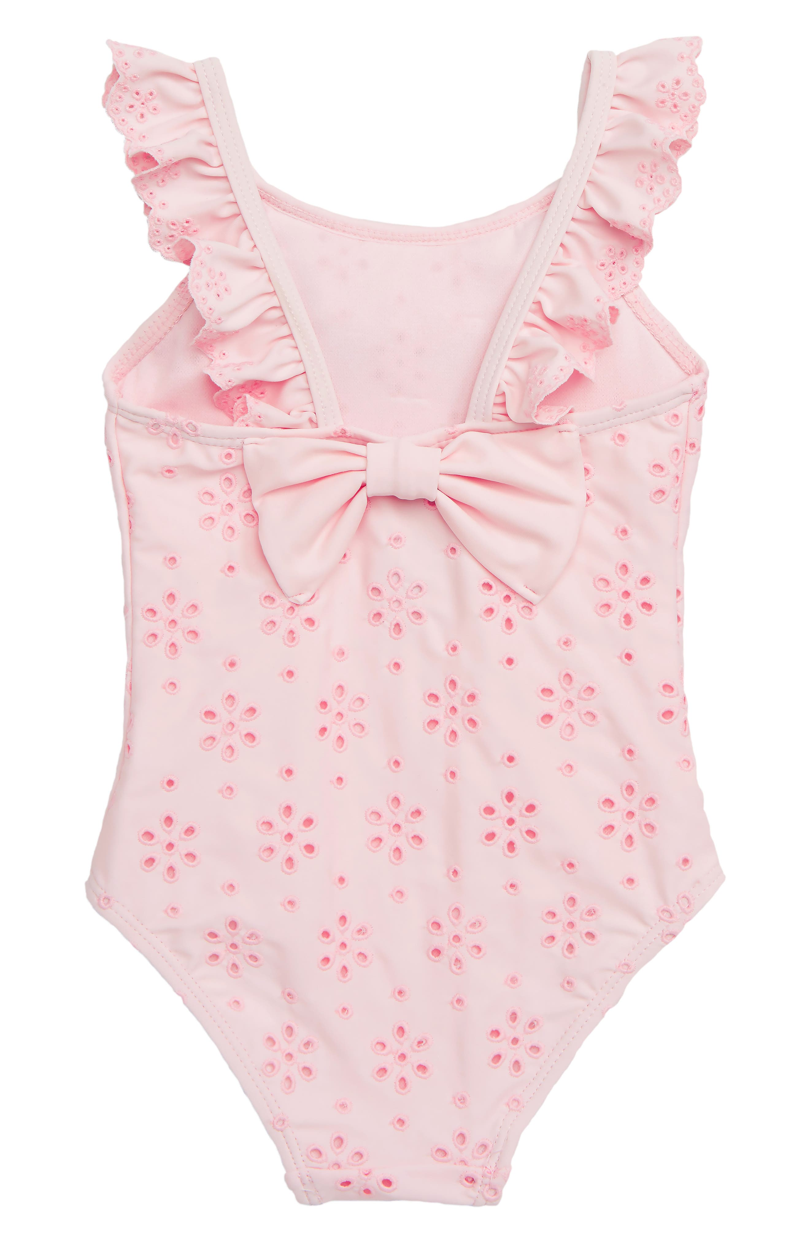 Ruffle Eyelet One-Piece Swimsuit,                             Alternate thumbnail 2, color,                             PINK