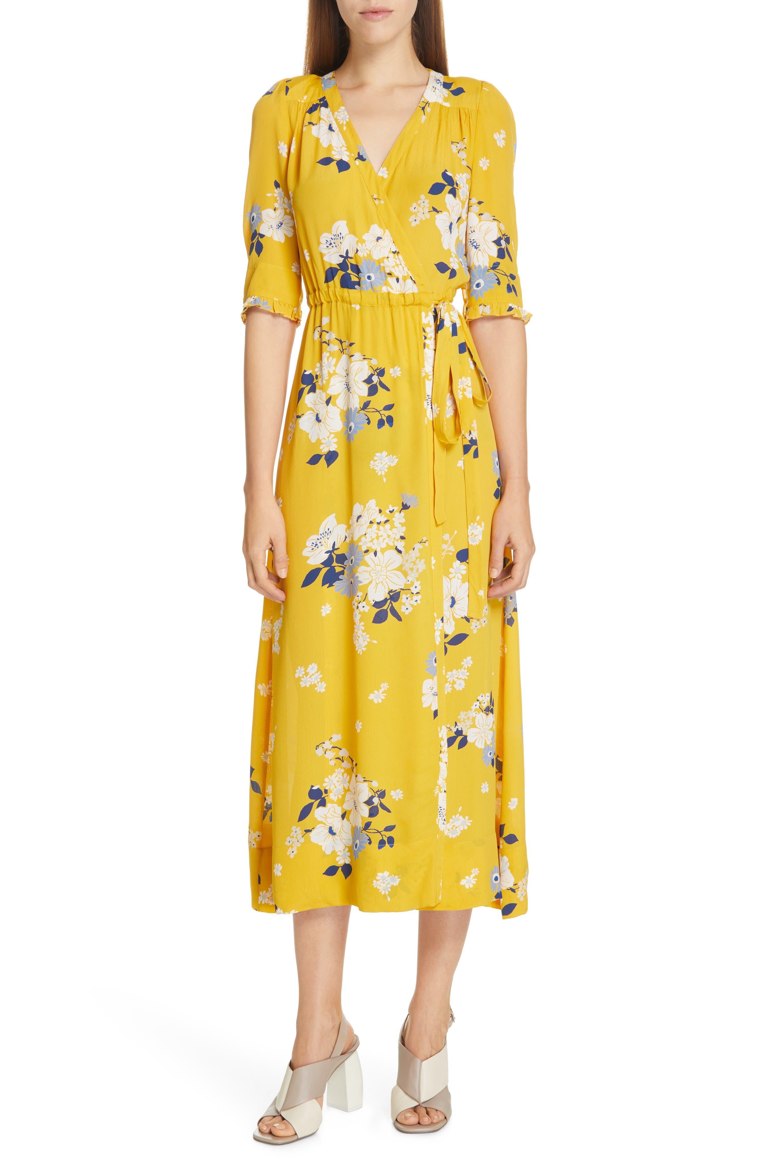 Sea Pia Floral Faux Wrap Midi Dress, Yellow