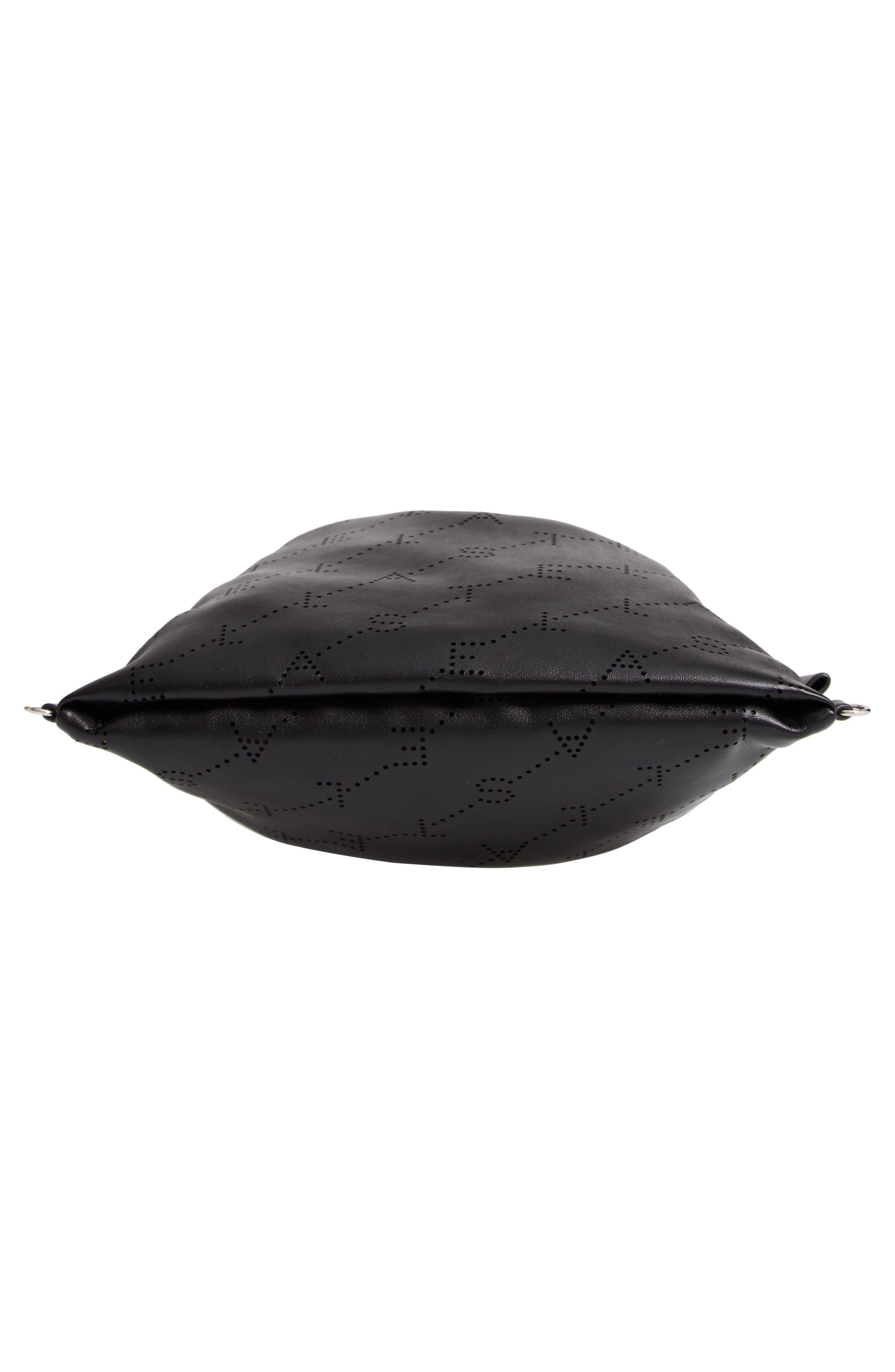 STELLA MCCARTNEY,                             Perforated Logo Mini Faux Leather Drawstring Backpack,                             Alternate thumbnail 6, color,                             BLACK