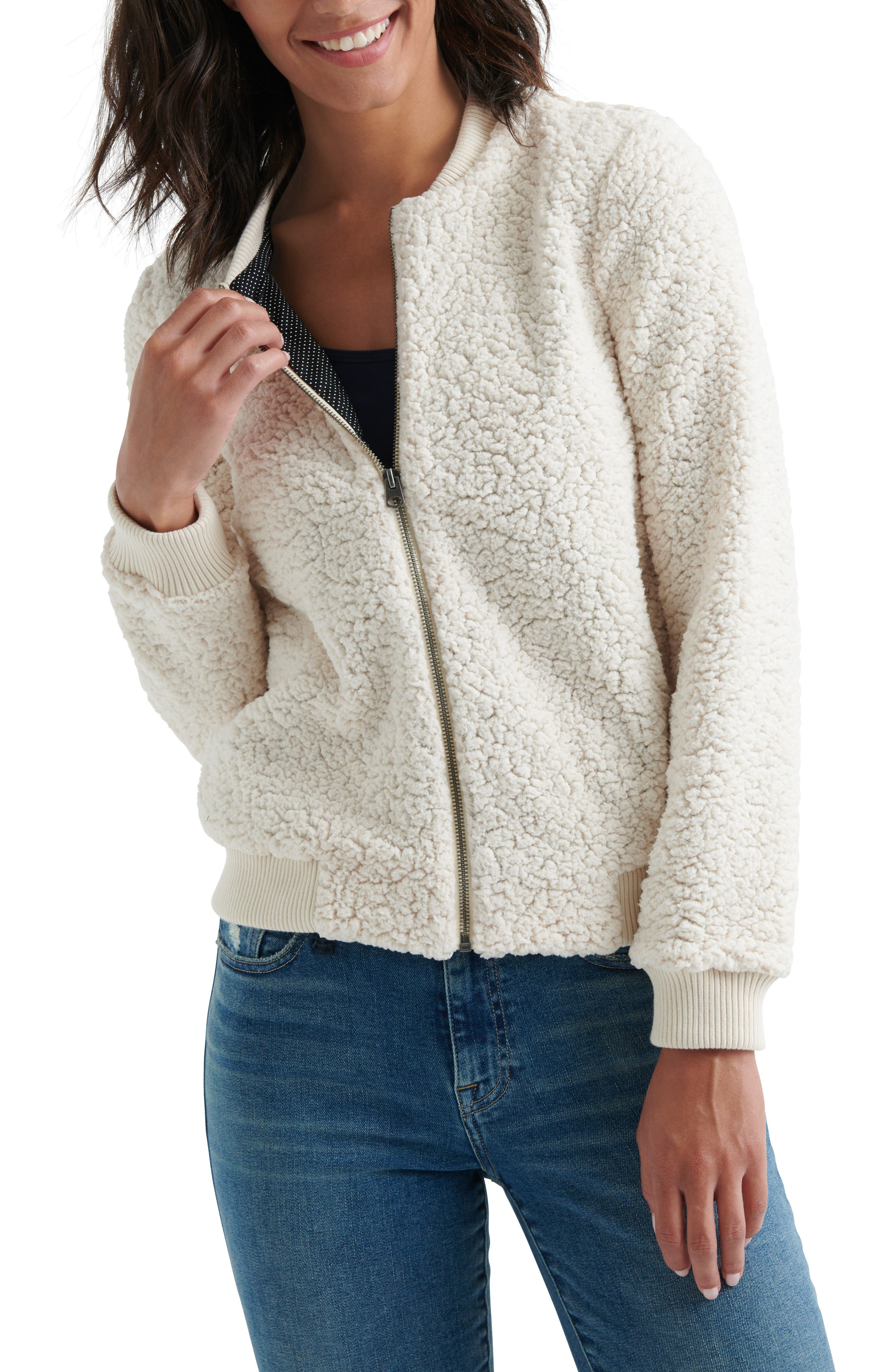 Lucky Brand Anaelisa Fleece Bomber Jacket, White