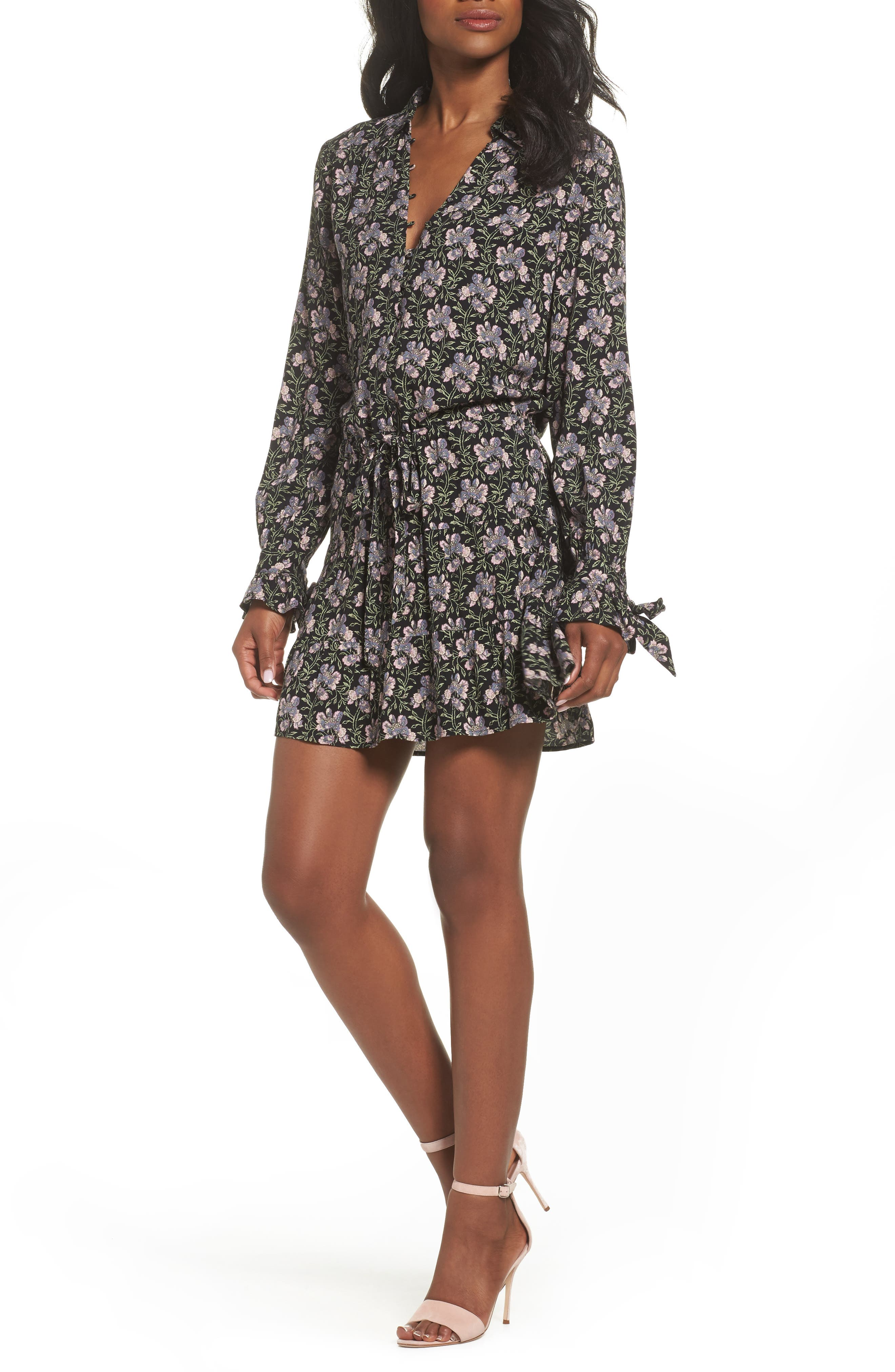 Denisa Floral Tie Cuff Minidress,                         Main,                         color, STORM CLOUD MULTI