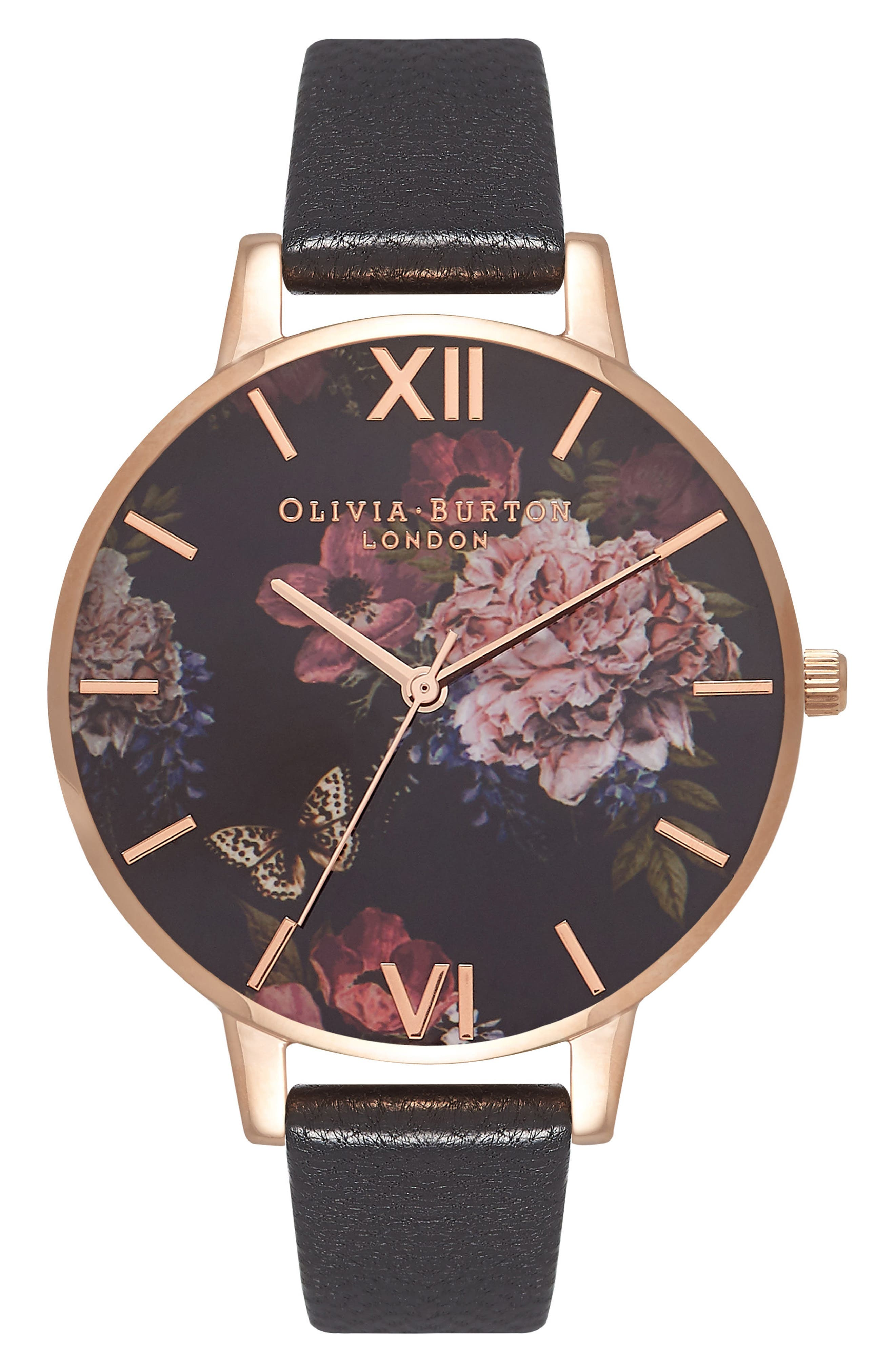 Dark Bouquet Leather Strap Watch, 38mm,                             Main thumbnail 1, color,                             BLACK/ FLORAL/ ROSE GOLD
