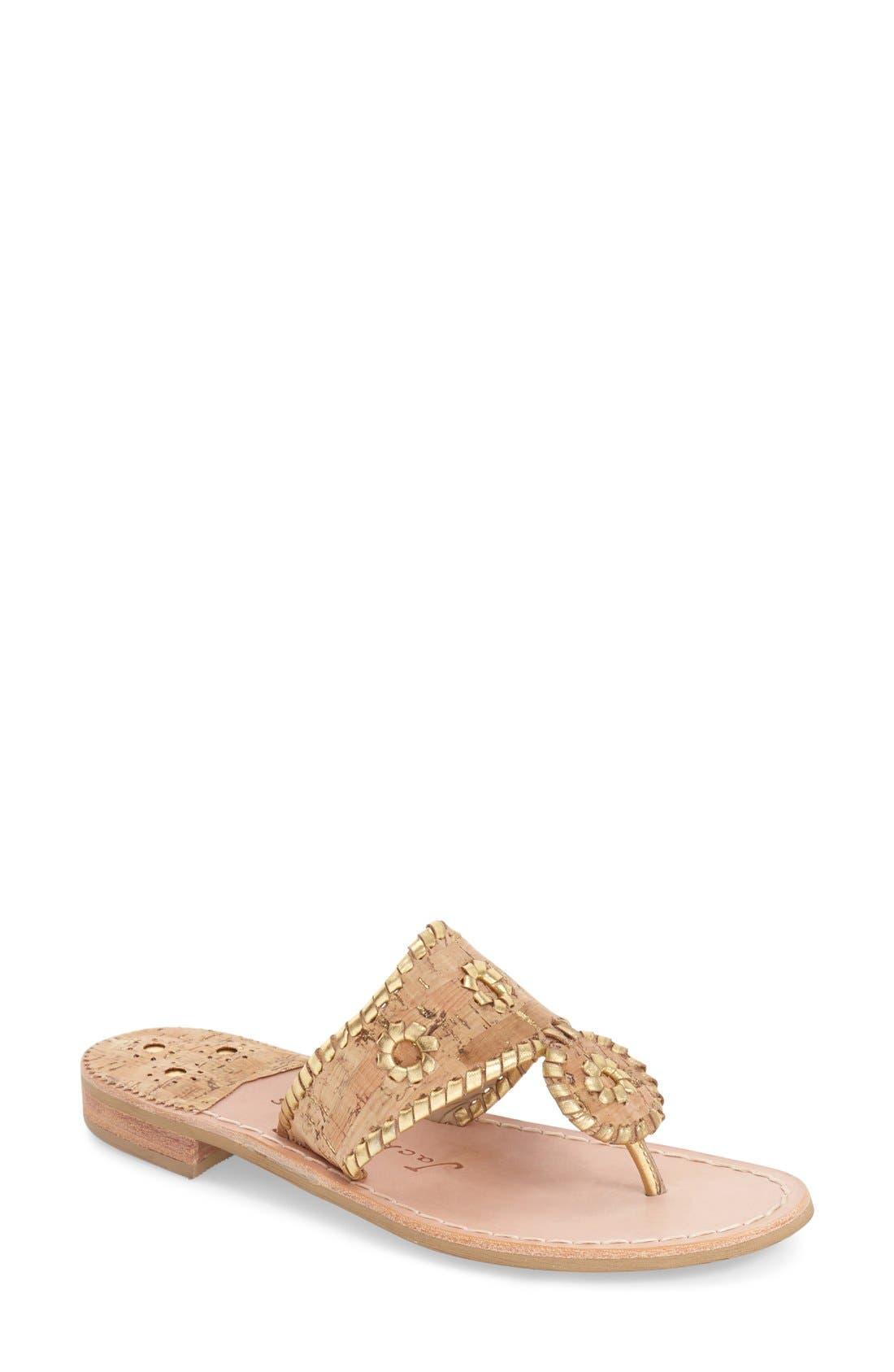 Whipstitched Flip Flop,                         Main,                         color, CORK/ GOLD