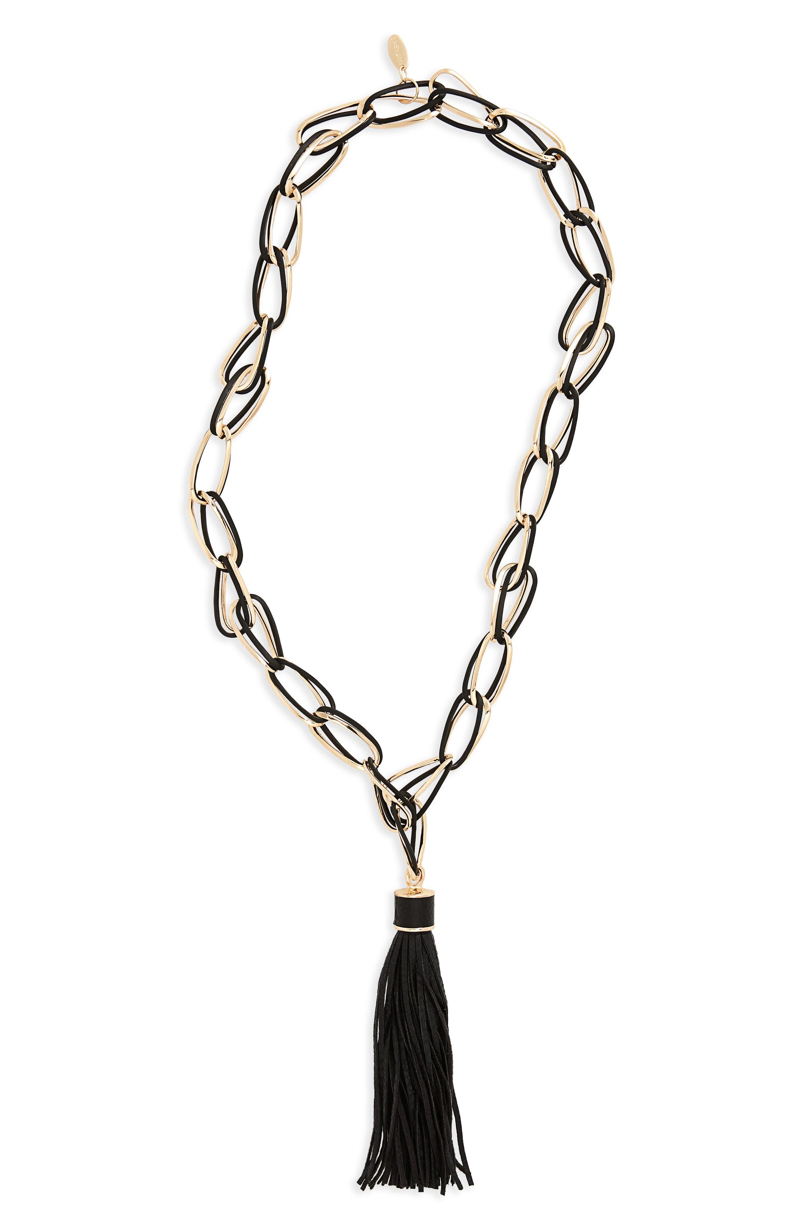 Link Tassel Necklace,                         Main,                         color, 001