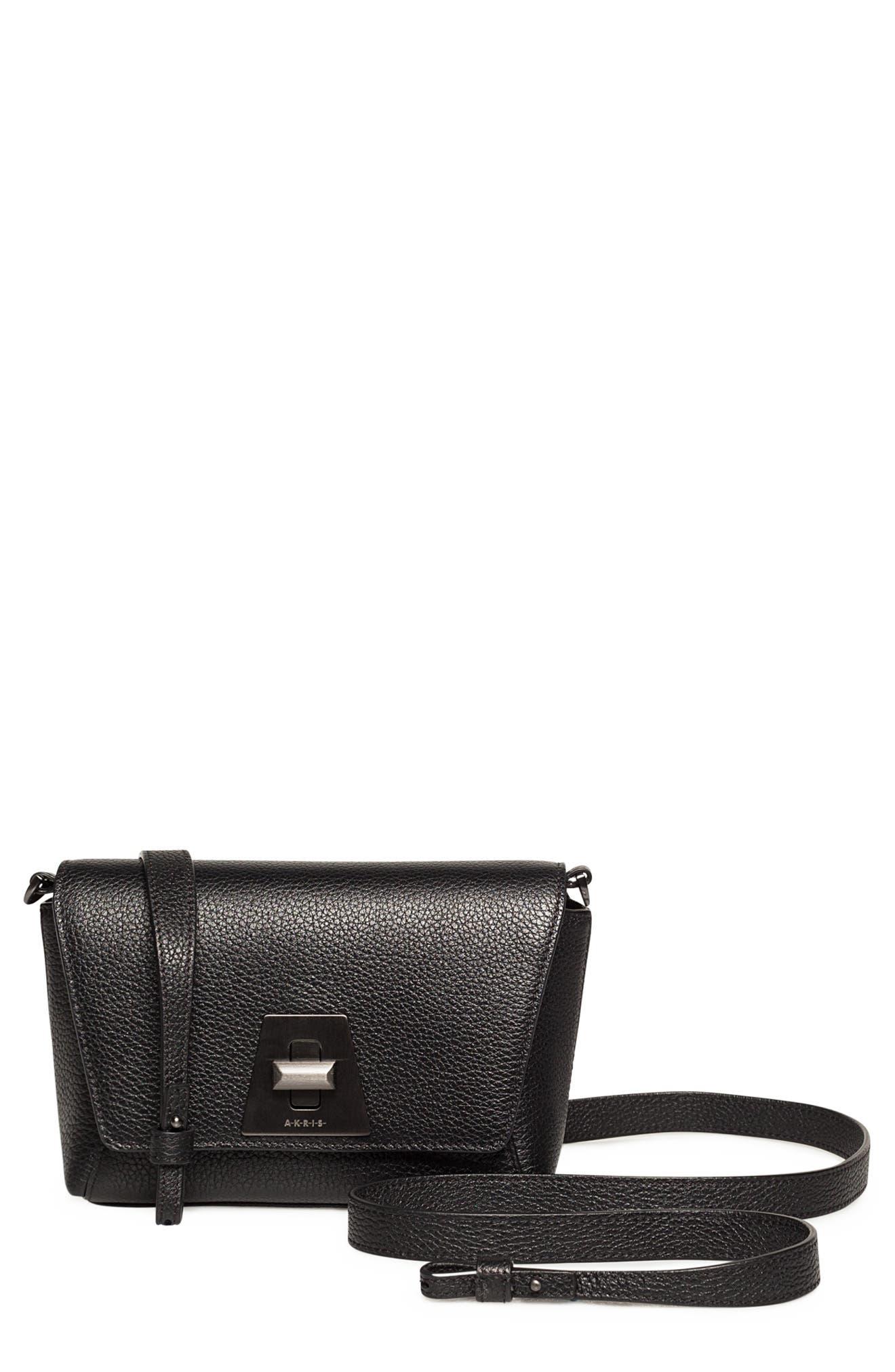 Little Anouk Leather Crossbody Bag,                             Main thumbnail 1, color,                             009 BLACK