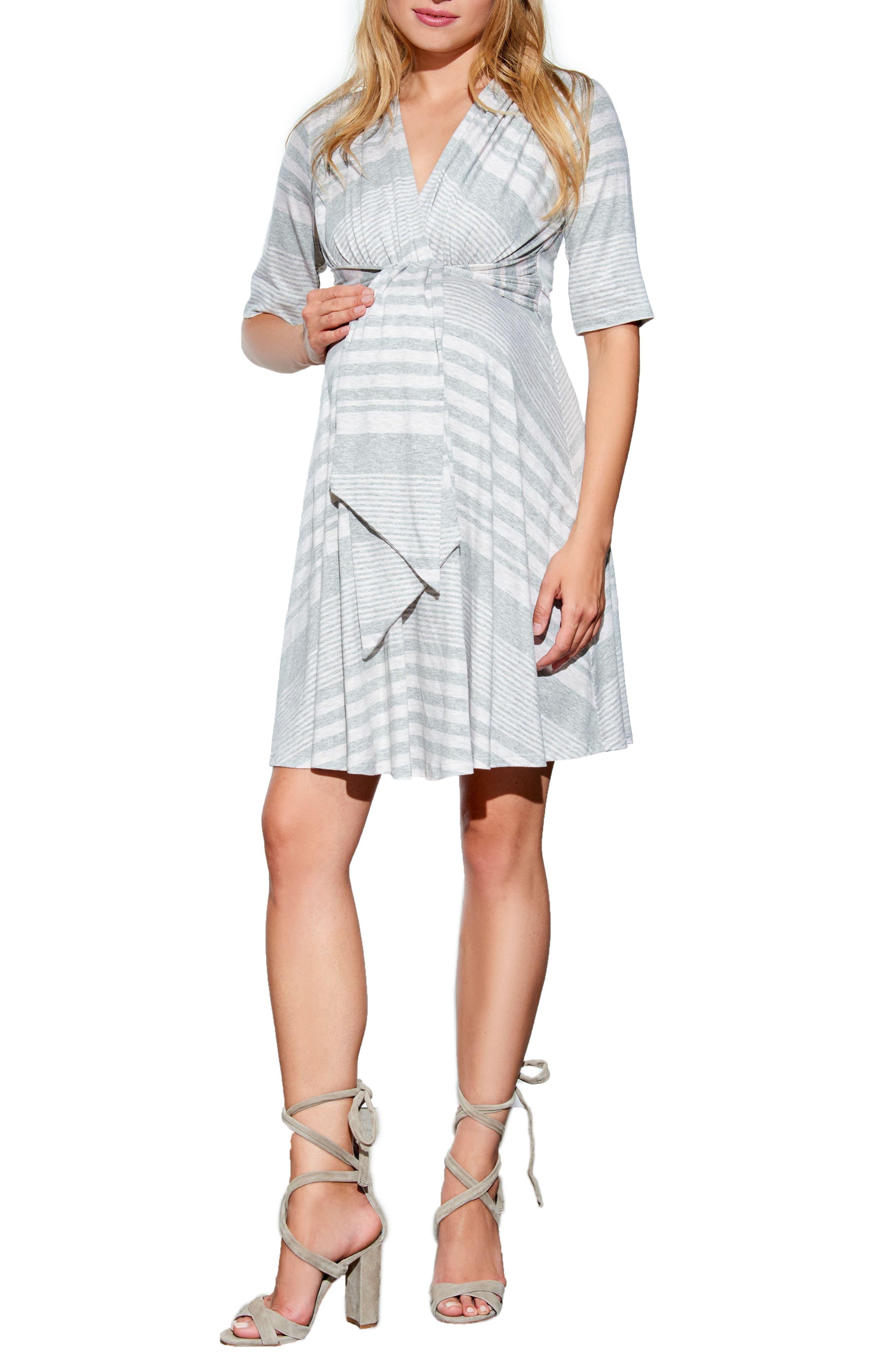 Tie Waist Maternity Dress,                         Main,                         color, HEATHER GREY STRIPES