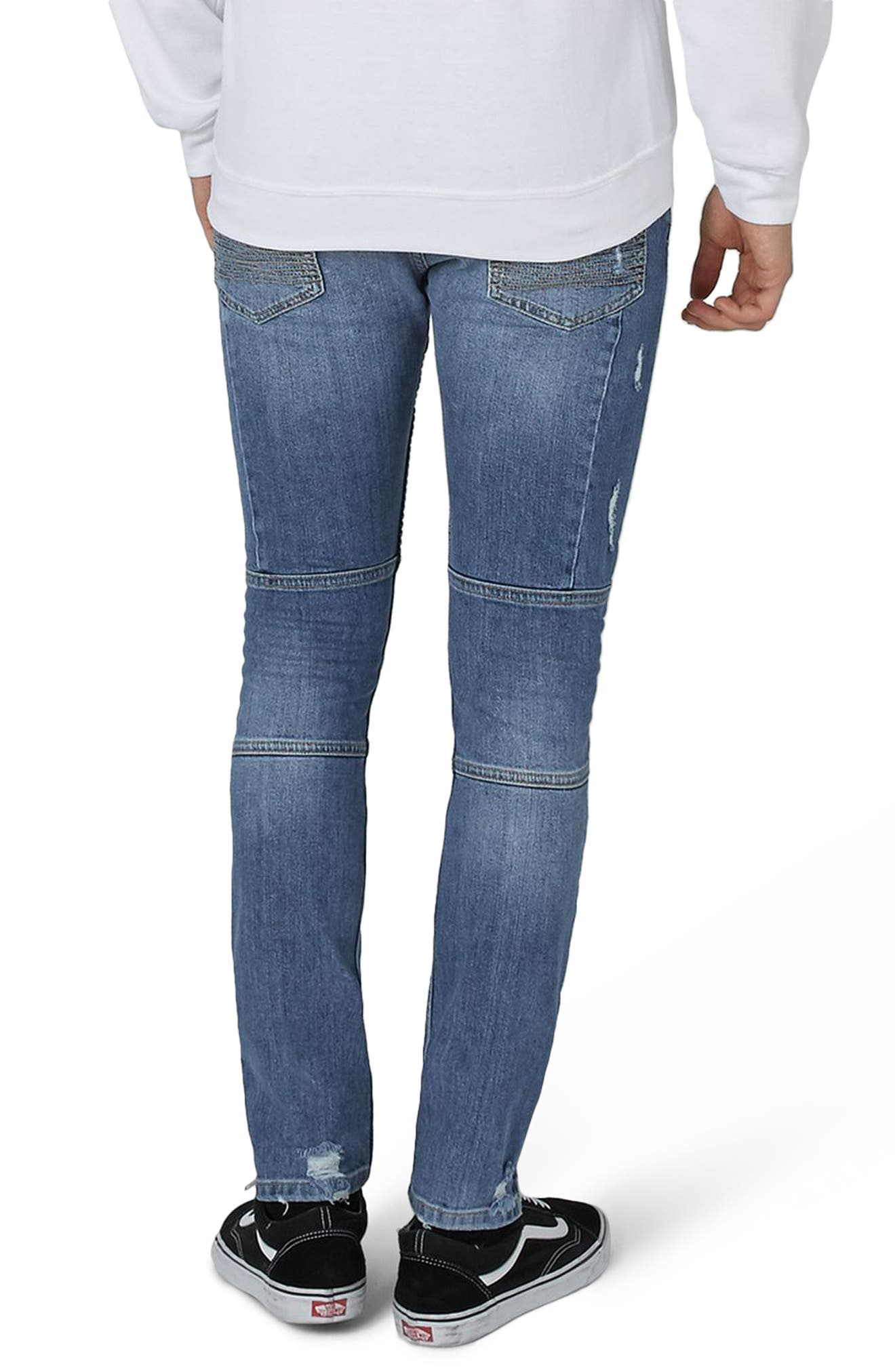 Ripped Zip Skinny Biker Jeans,                             Alternate thumbnail 2, color,                             400