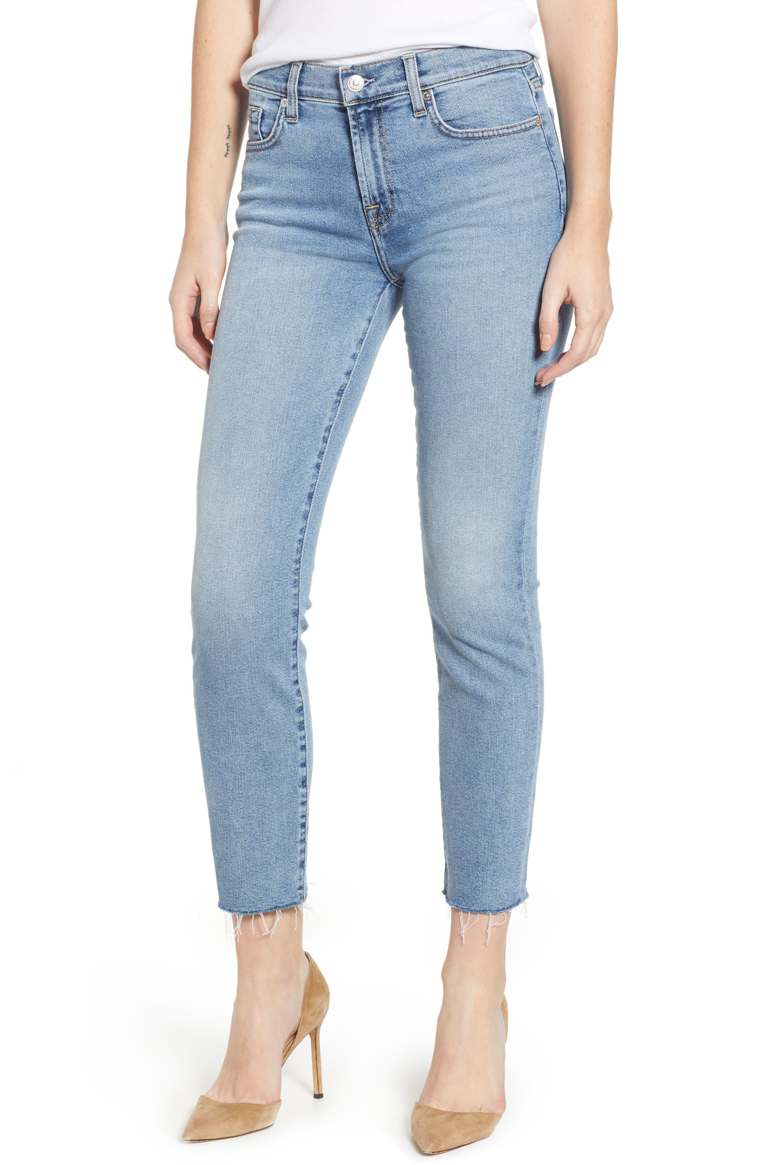 Roxanne Raw Hem Ankle Slim Jeans,                             Main thumbnail 1, color,                             403