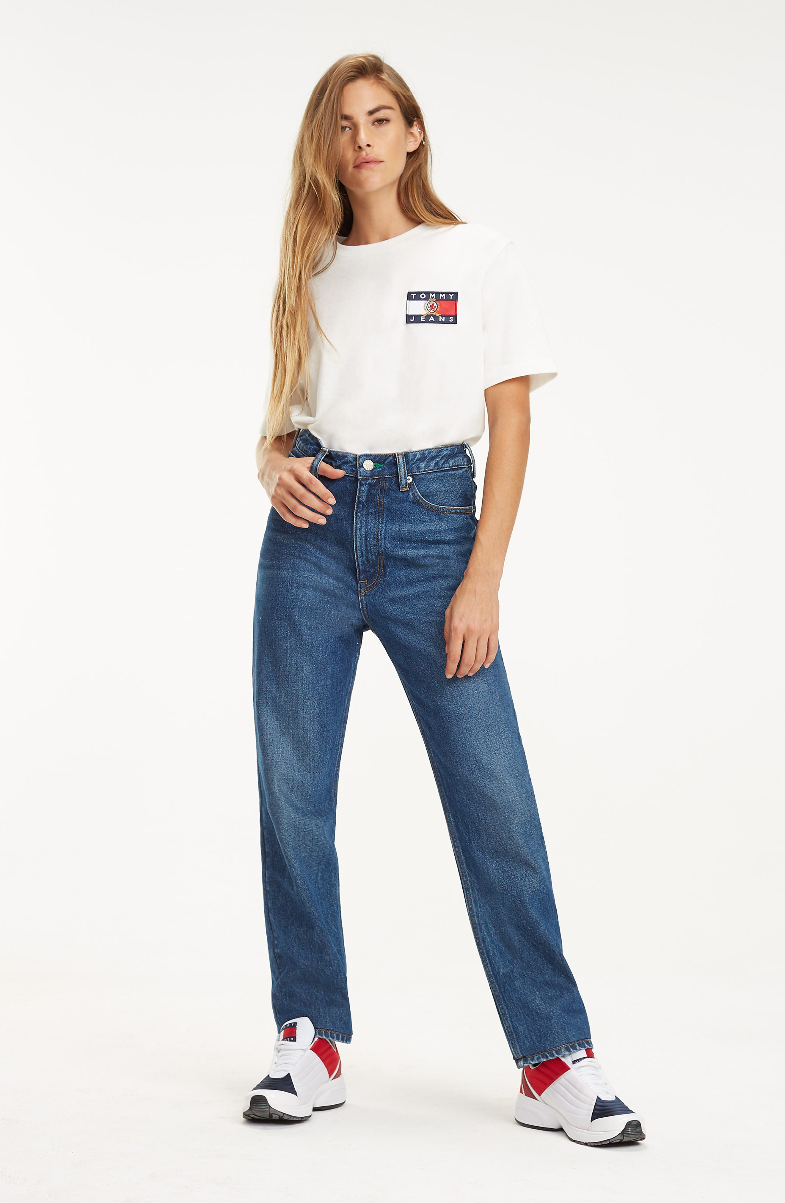TOMMY JEANS,                             Crest Capsule Flag Tee,                             Alternate thumbnail 4, color,                             100