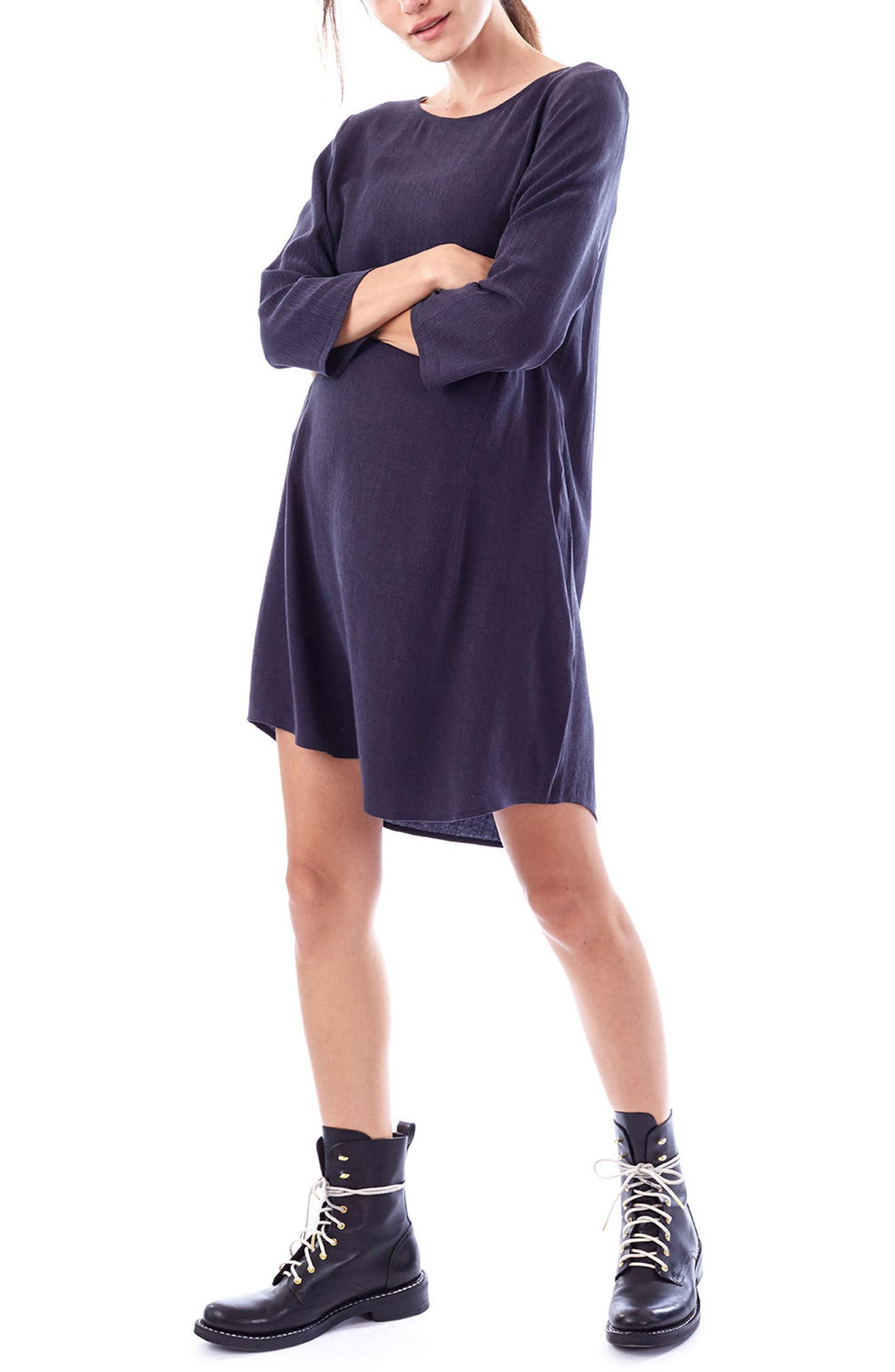 Layla Maternity/Nursing Dress,                         Main,                         color, CHARCOAL
