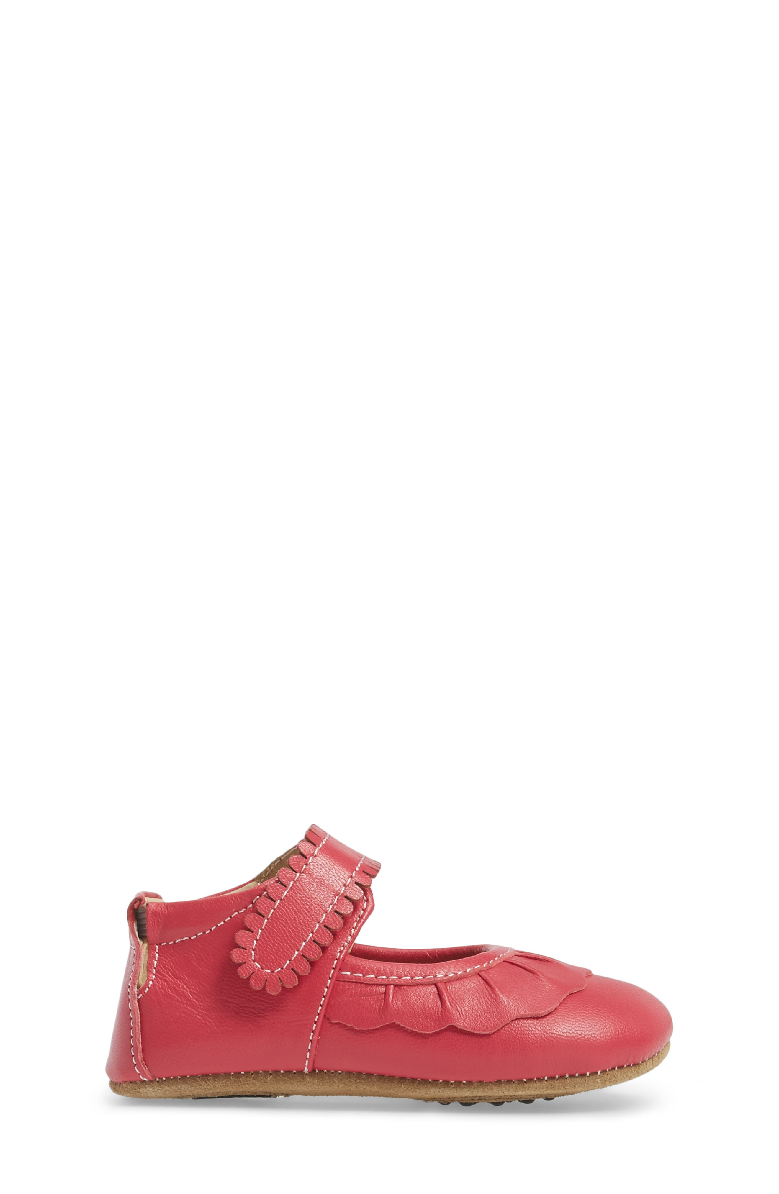 'Ruche' Mary Jane Crib Shoe,                             Alternate thumbnail 3, color,                             HOT PINK LEATHER