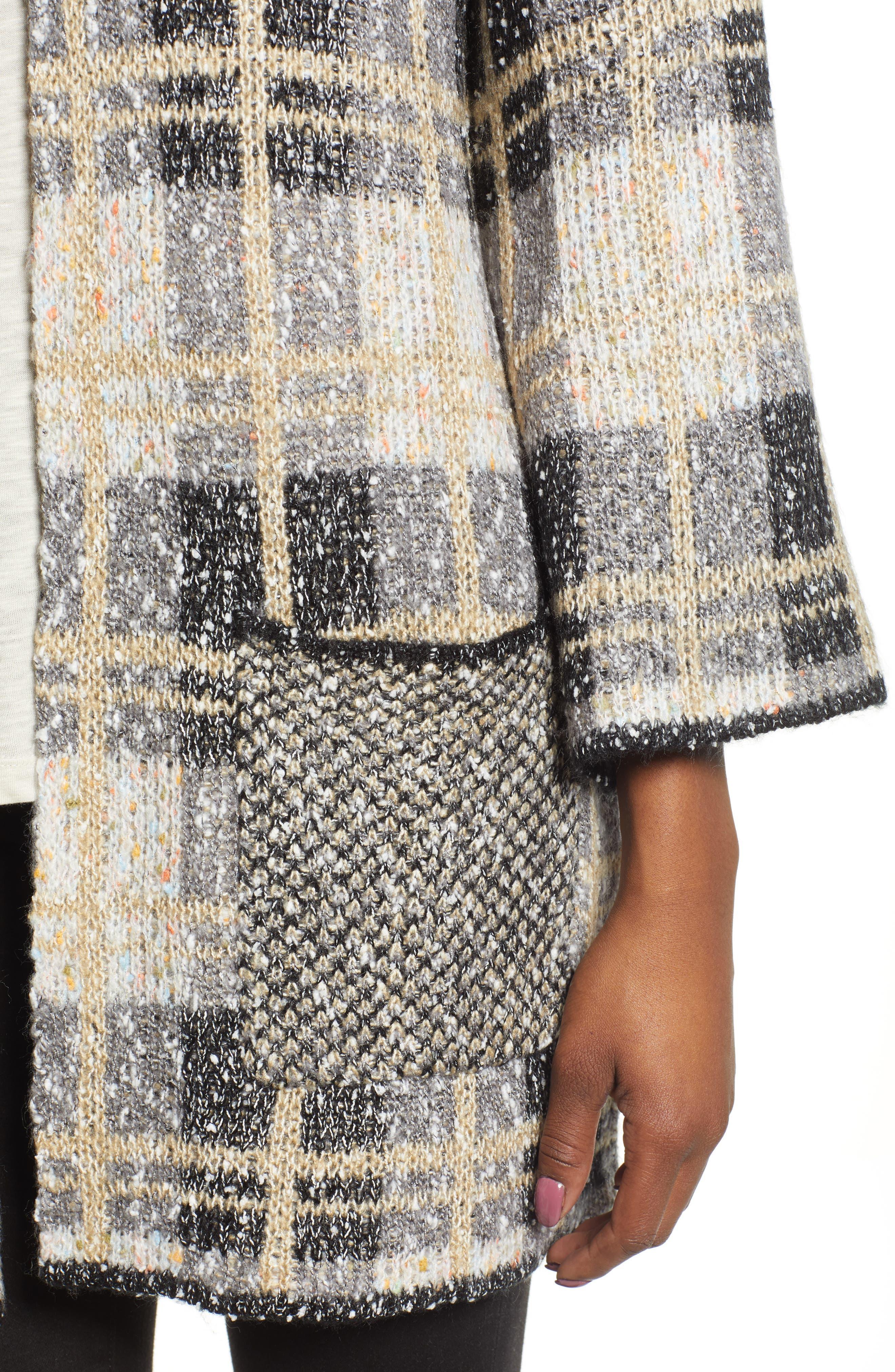 Reversible Plaid Jacquard Sweater Jacket,                             Alternate thumbnail 5, color,                             GREY