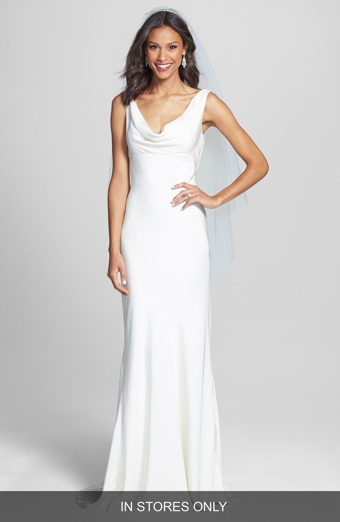 Draped Neck Silk Crepe Wedding Dress,                             Main thumbnail 1, color,                             900