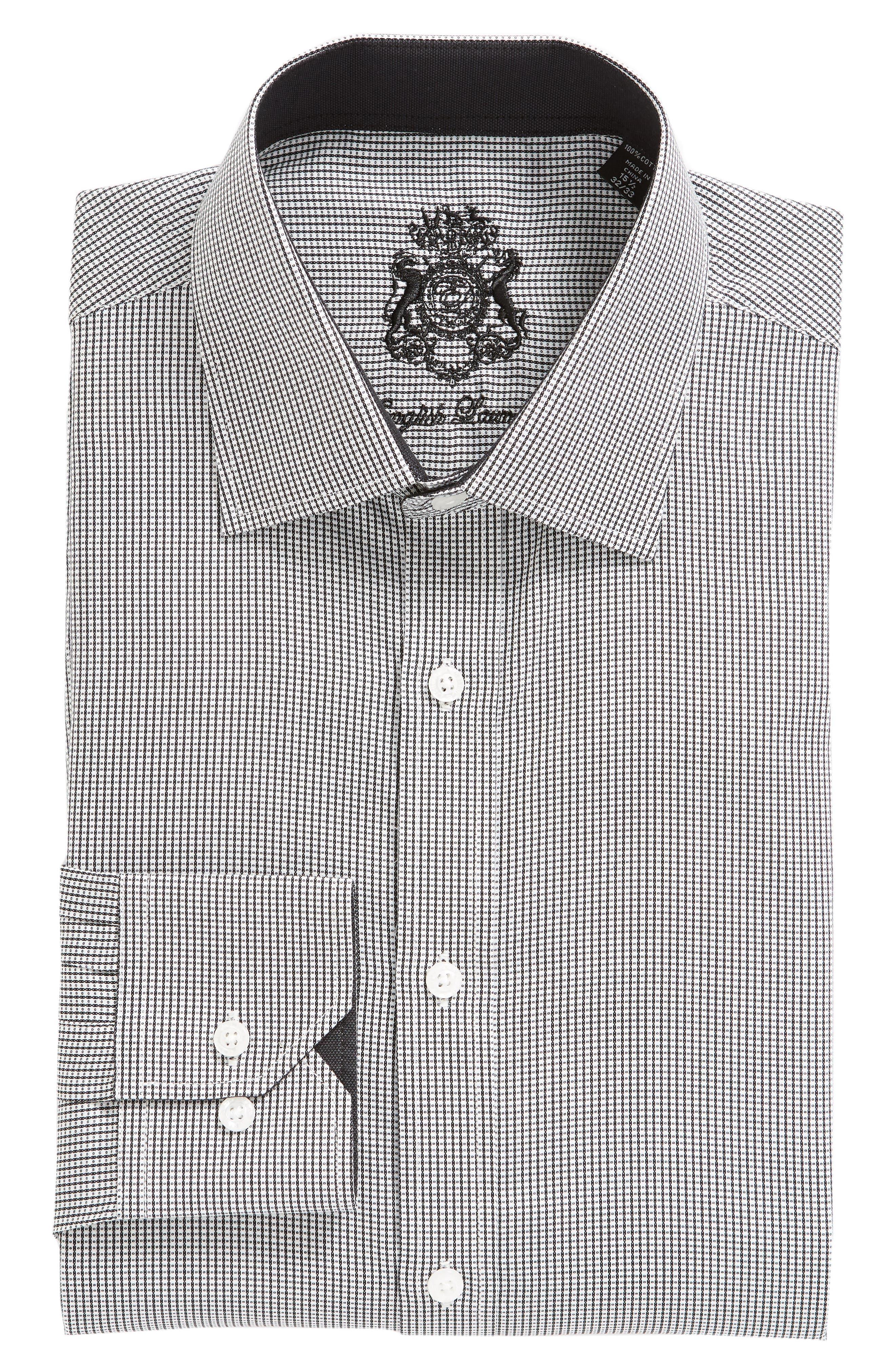 ENGLISH LAUNDRY,                             Regular Fit Check Dress Shirt,                             Alternate thumbnail 5, color,                             001