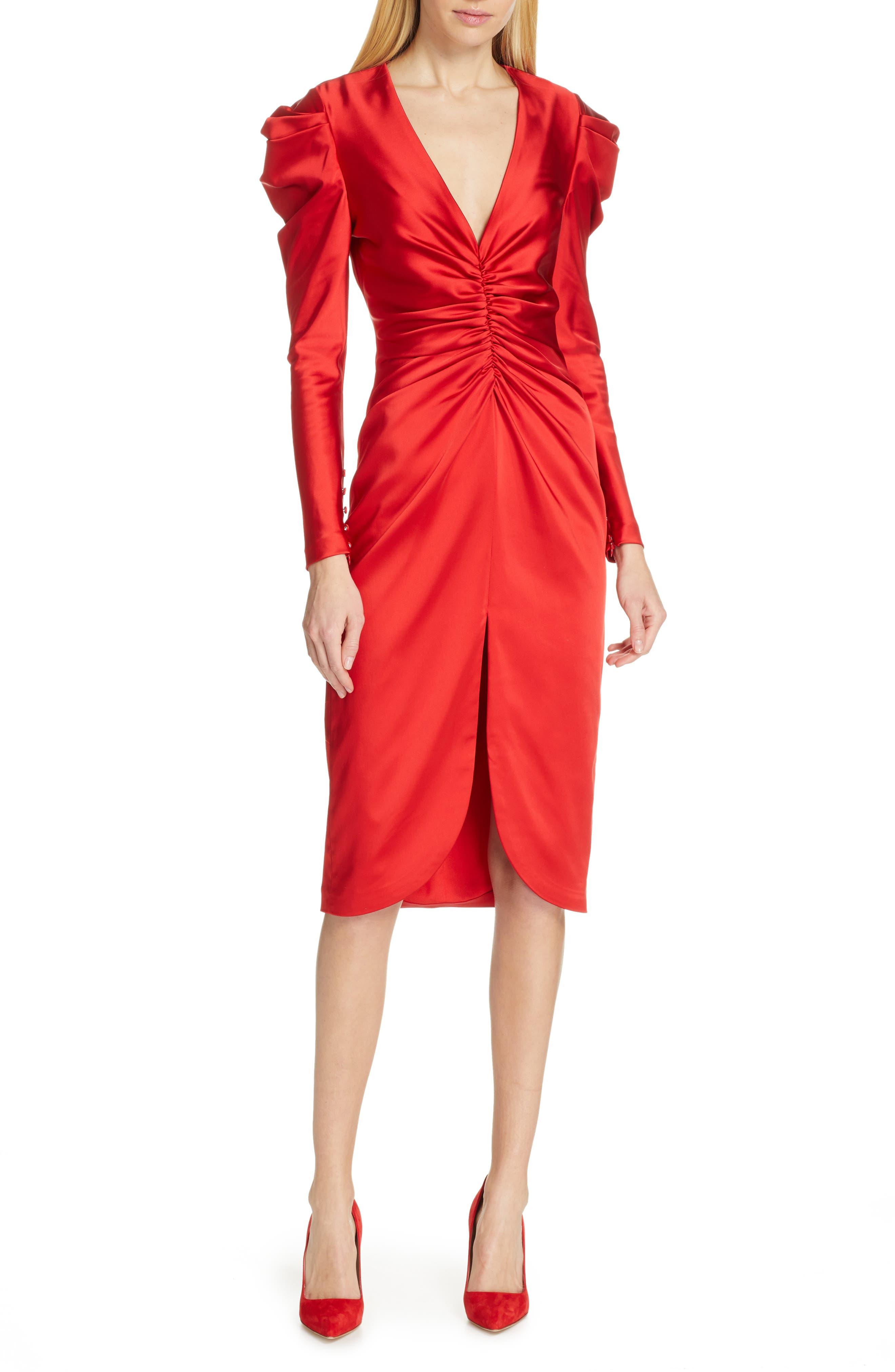 Jonathan Simkhai Ruched Satin Midi Dress, Red