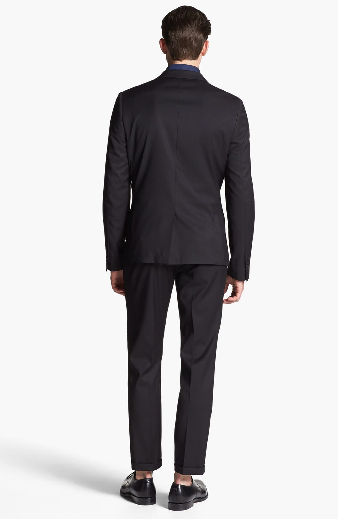 TOPMAN,                             Skinny Fit Tuxedo Trousers,                             Alternate thumbnail 5, color,                             001
