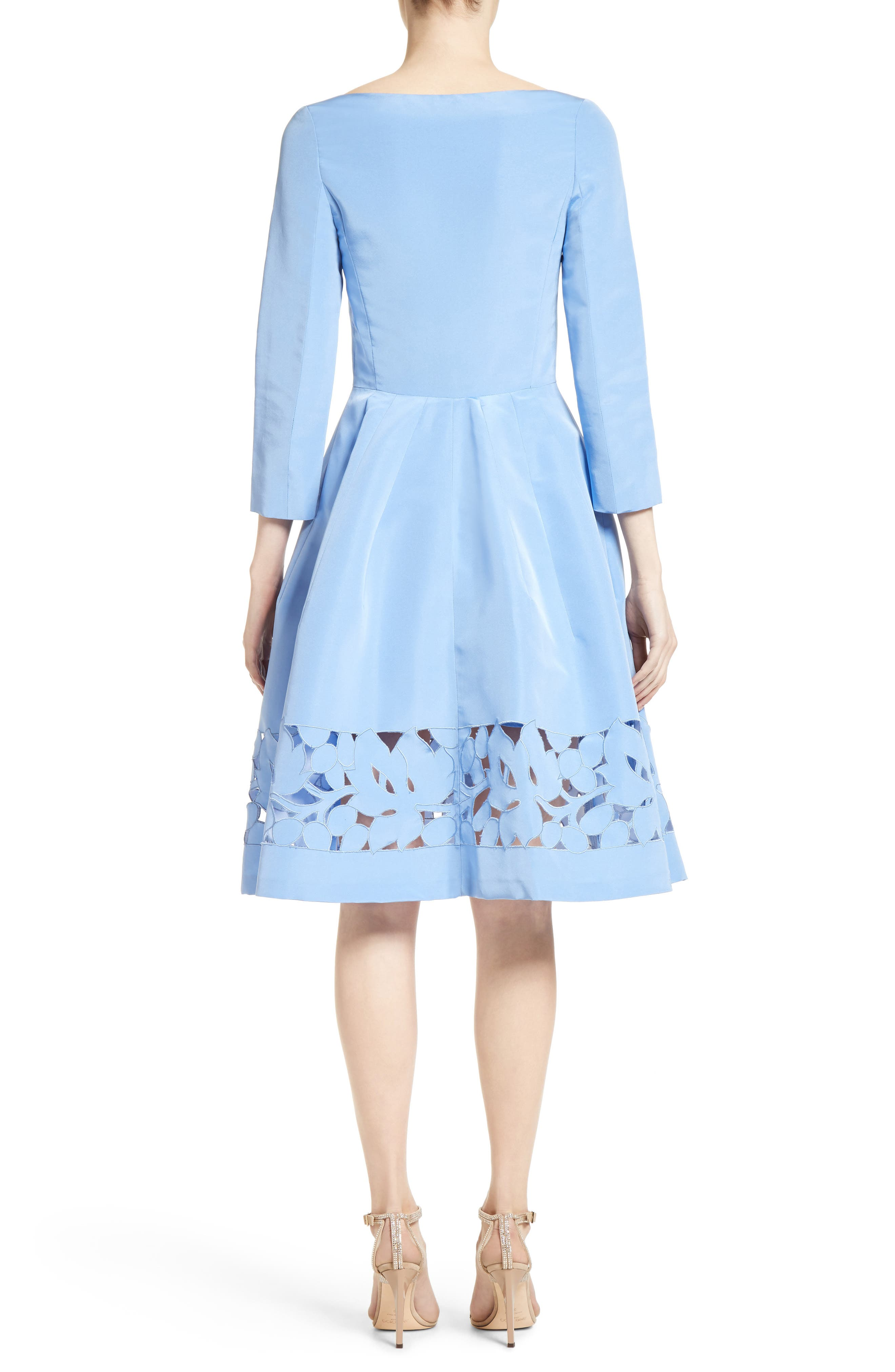 Carolina Herrerra Laser Cut Eyelet Button Front Dress,                             Alternate thumbnail 2, color,                             400
