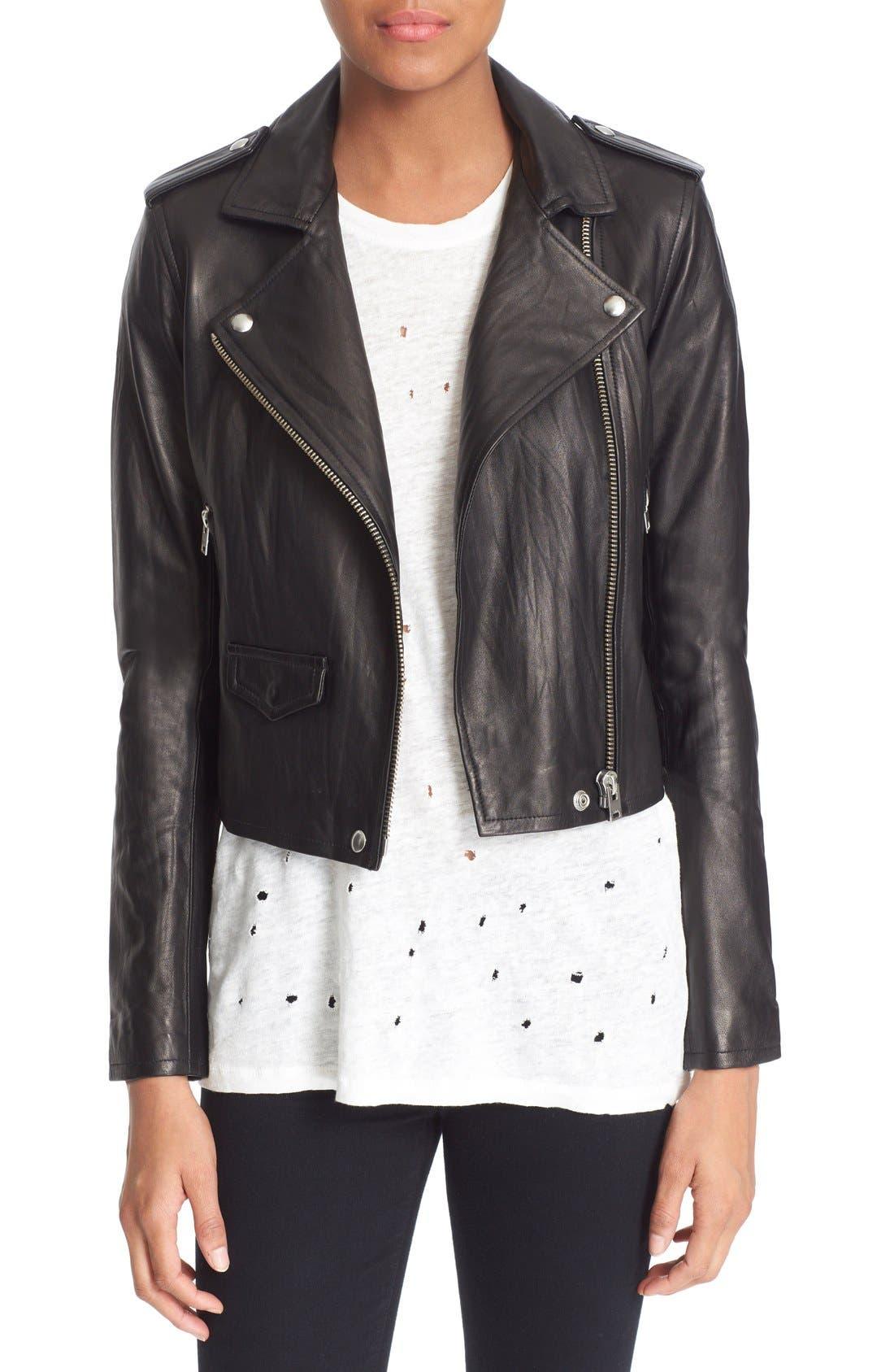 'Ashville' Leather Jacket,                             Main thumbnail 1, color,                             BLACK