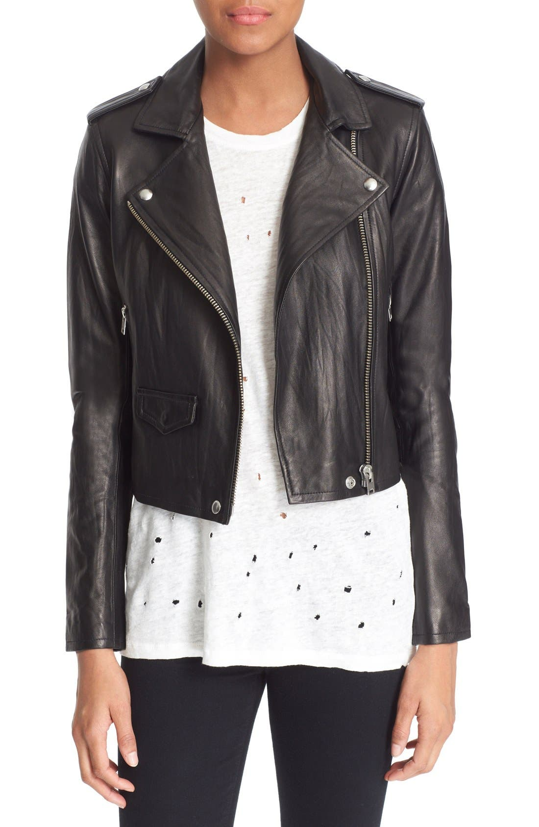 'Ashville' Leather Jacket,                         Main,                         color, BLACK