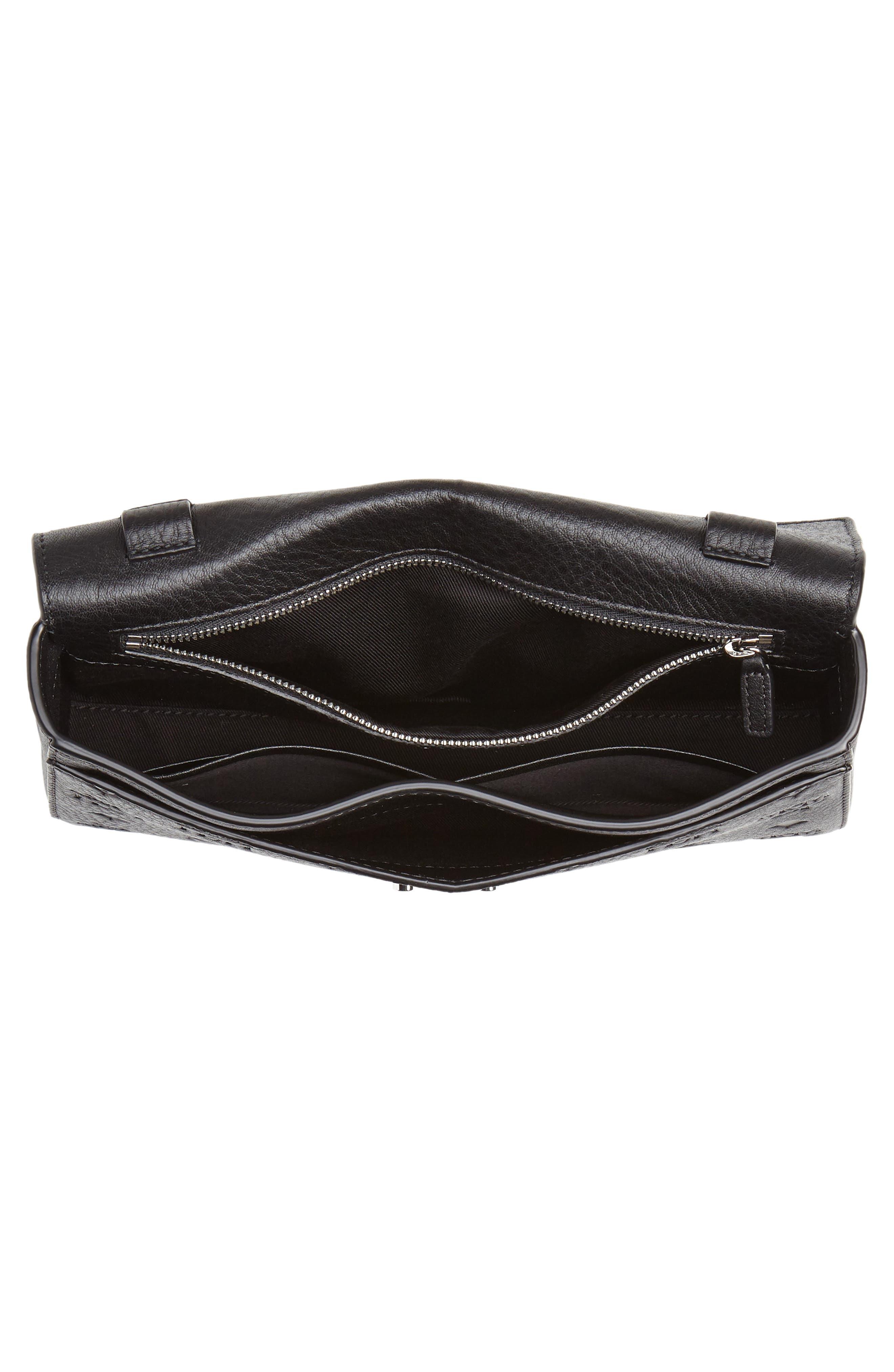 Millie Medium Calfskin Leather Wallet on a Chain,                             Alternate thumbnail 4, color,                             BLACK