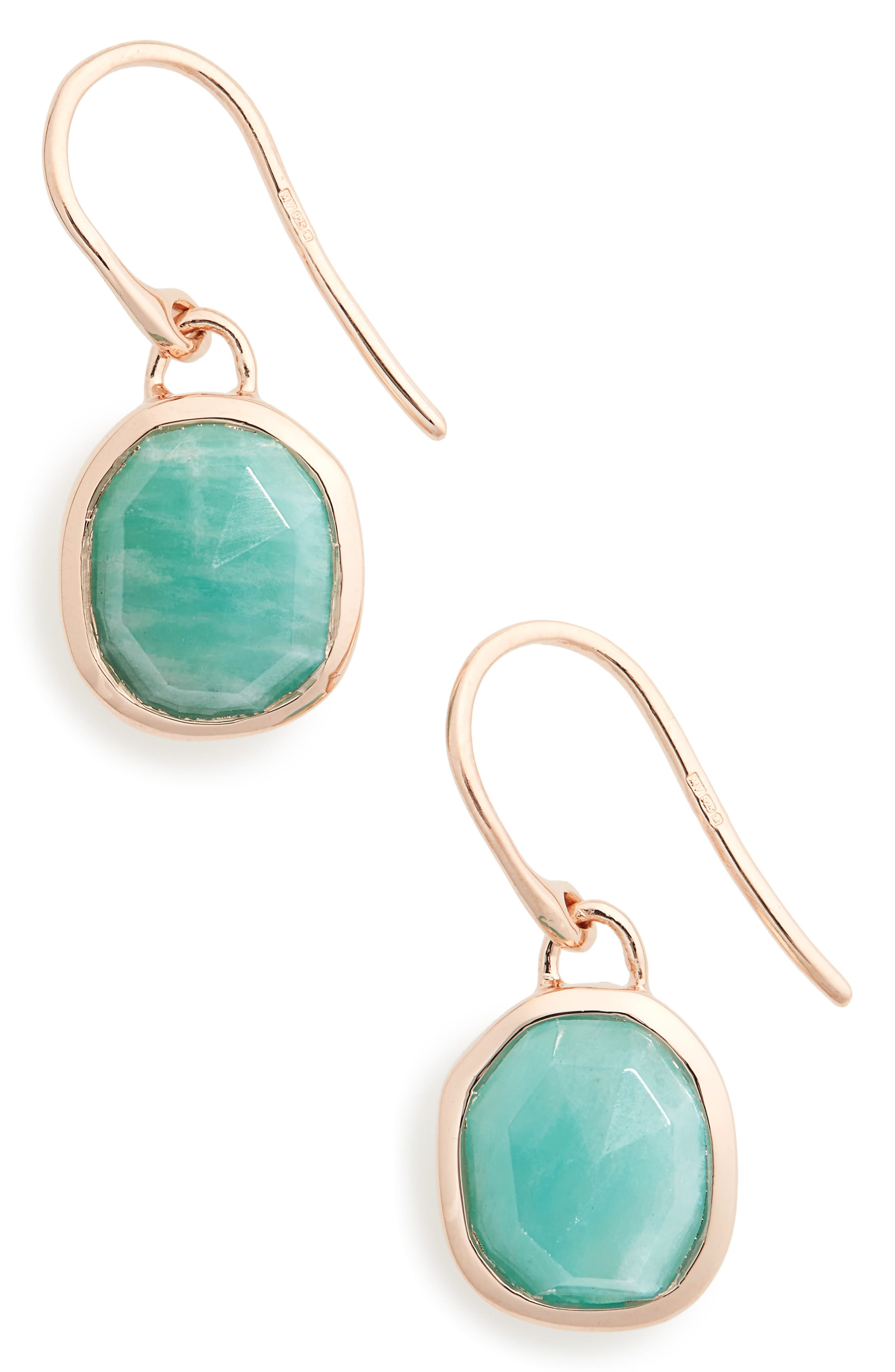 Siren Semiprecious Stone Drop Earrings,                             Alternate thumbnail 2, color,                             AMAZONITE/ ROSE GOLD