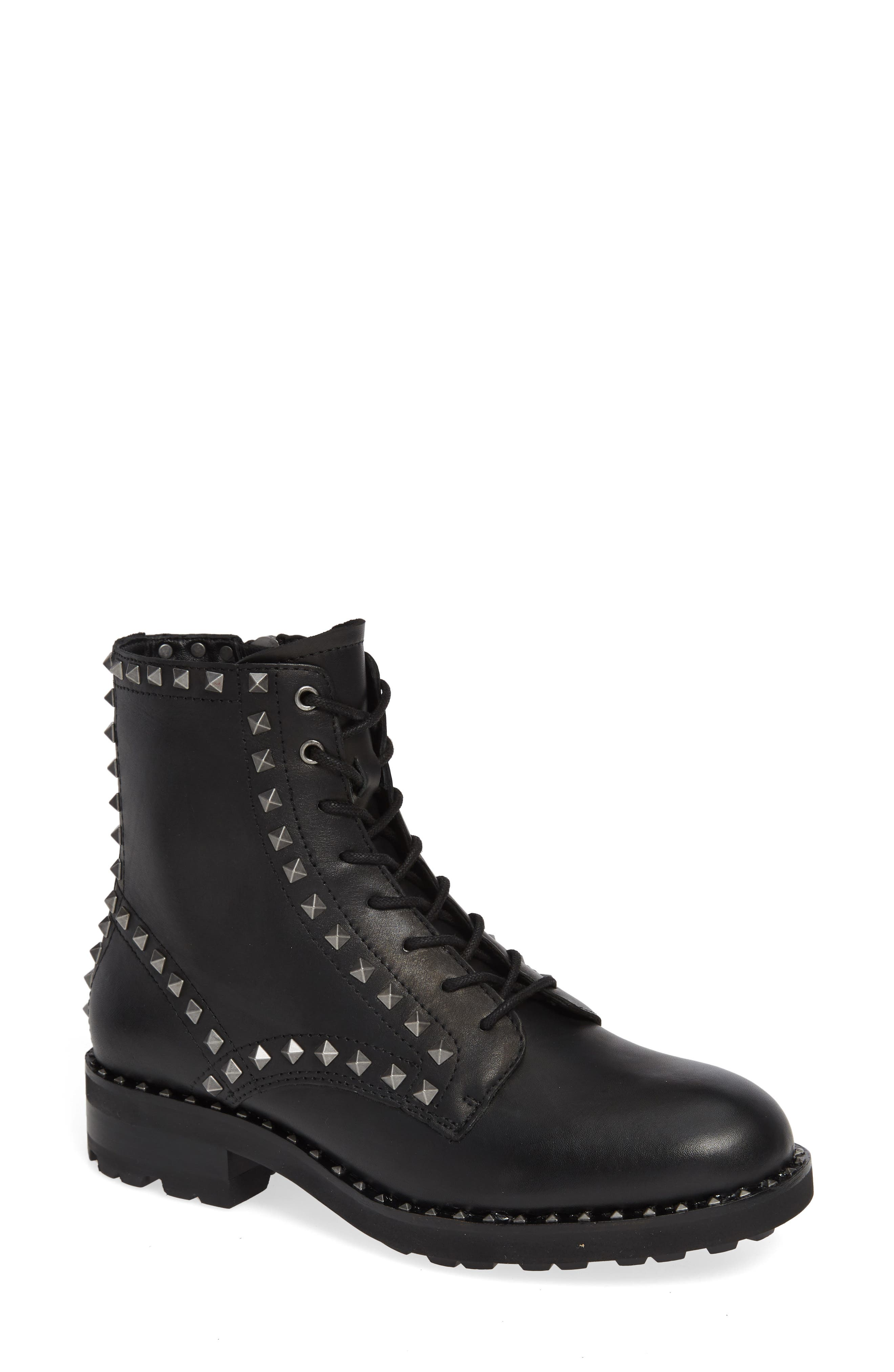 Wolf Studded Combat Boot,                             Main thumbnail 1, color,                             BLACK LEATHER