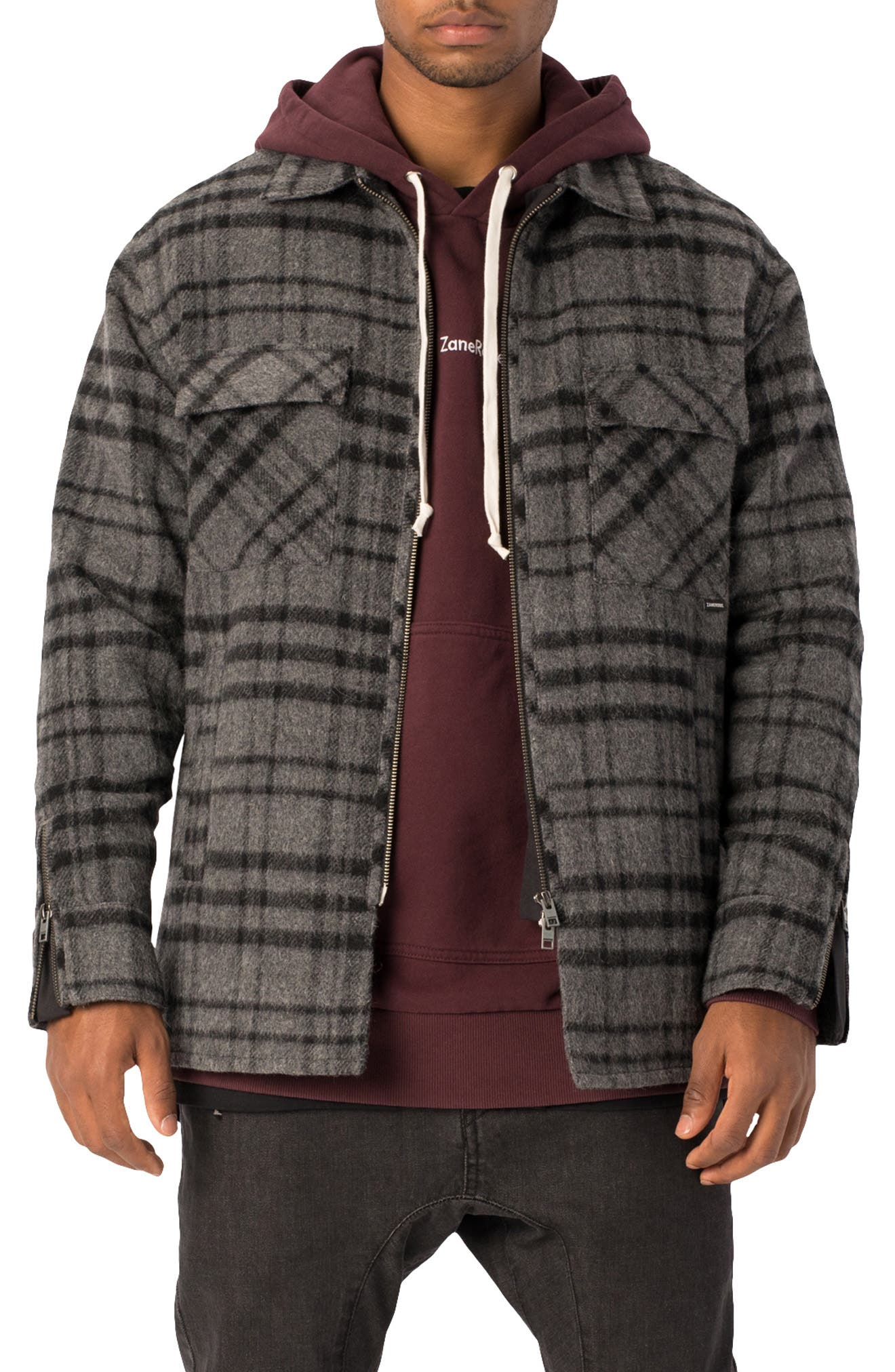 Zanerobe Rugger Plaid Flannel Shirt Jacket, Grey