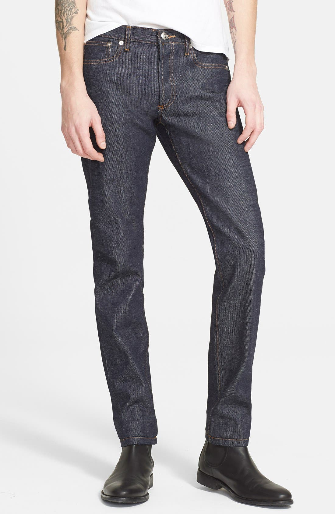 Petit New Standard Skinny Fit Selvedge Jeans,                             Main thumbnail 1, color,                             INDIGO WASH