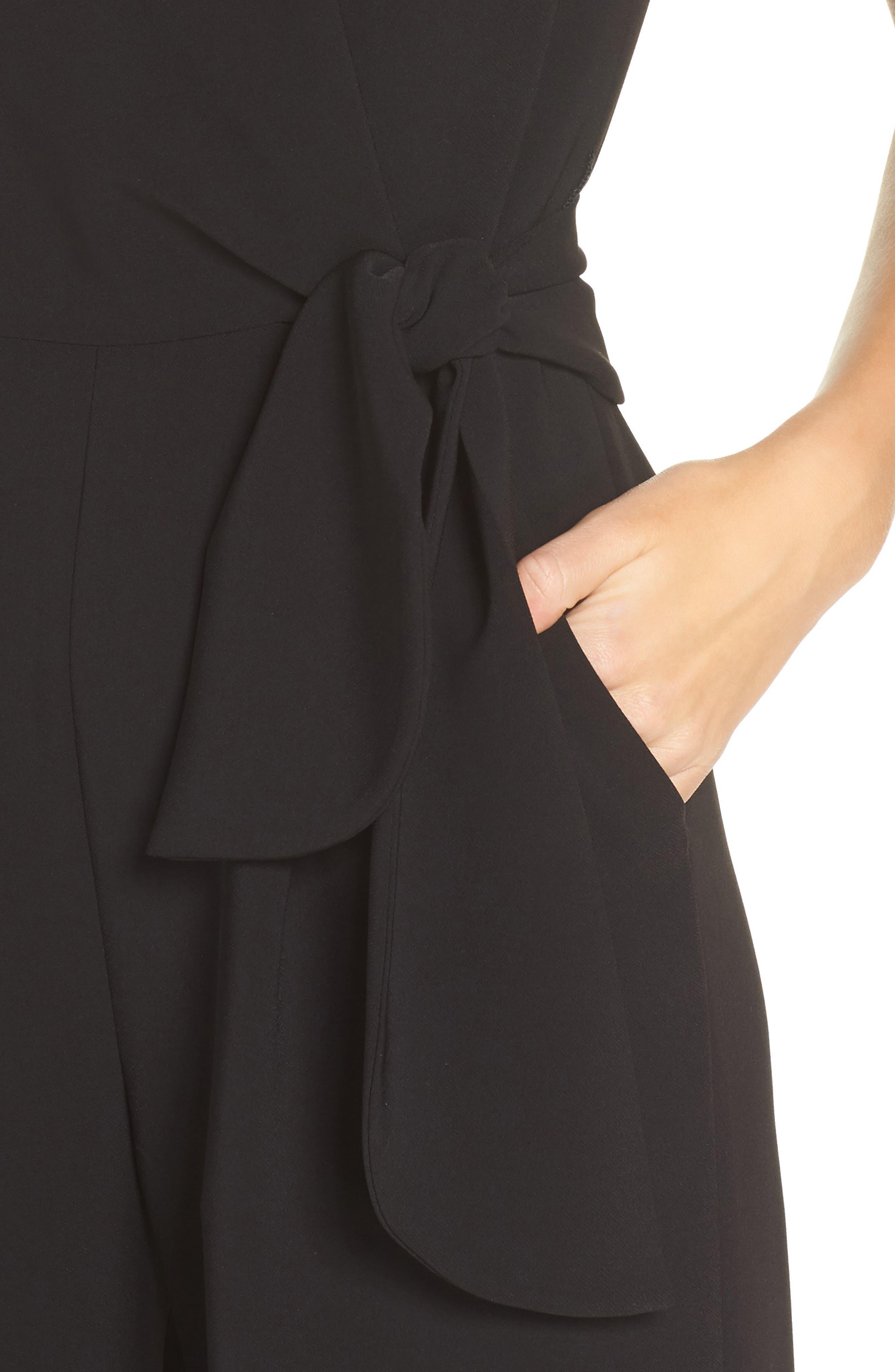 Sleeveless Crepe Crop Jumpsuit,                             Alternate thumbnail 4, color,                             BLACK
