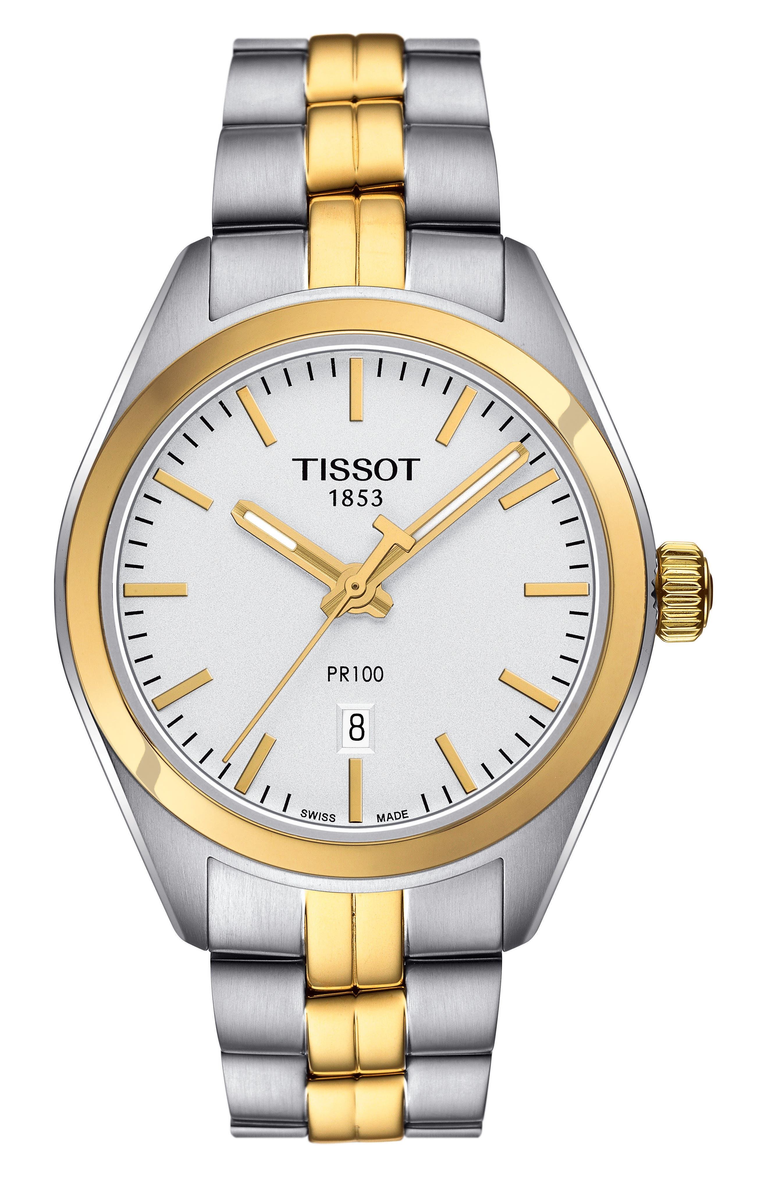 PR100 Bracelet Watch, 33mm,                         Main,                         color, SILVER/ GOLD