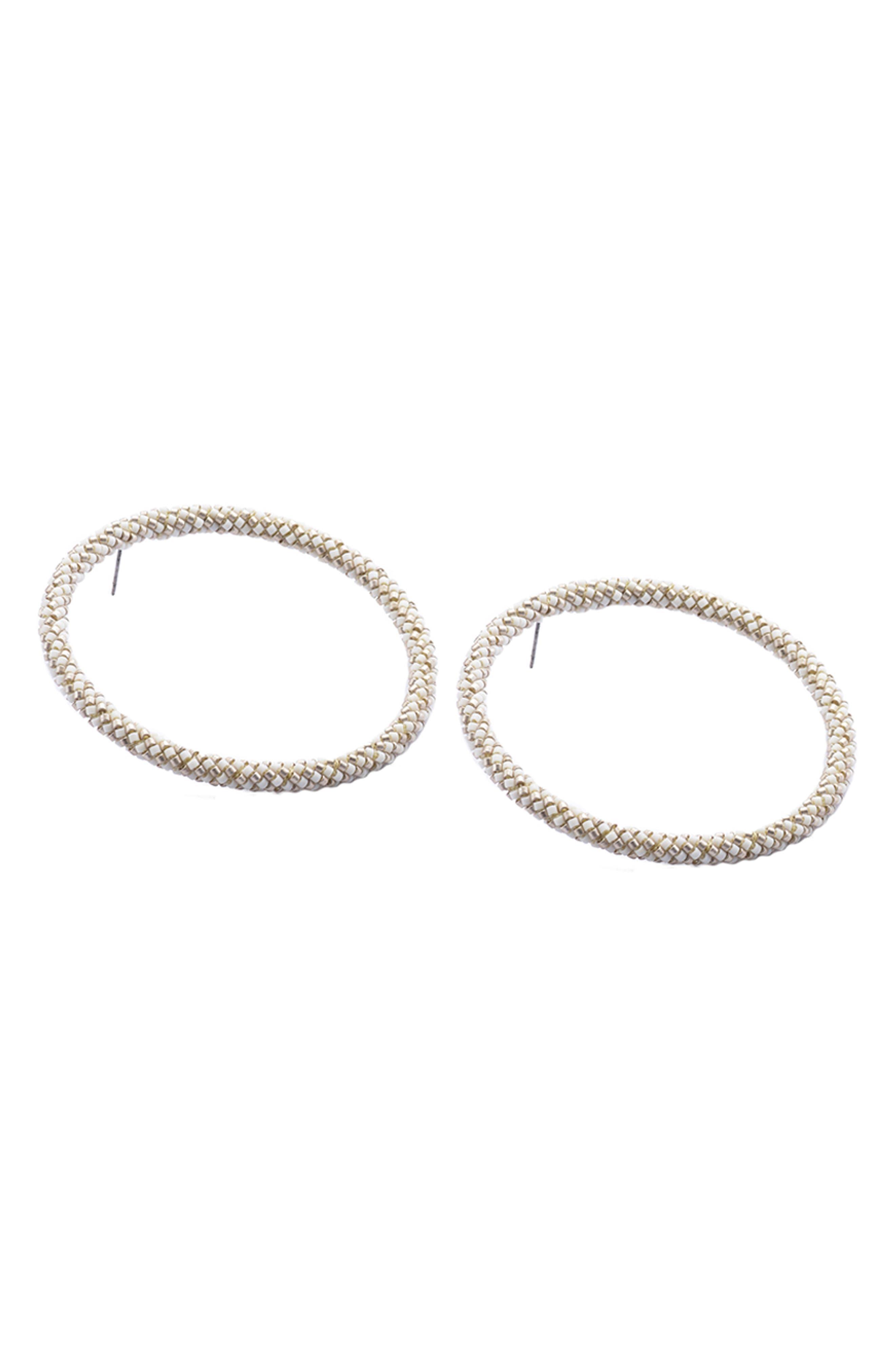 MISHKY Hula Hula XL Hoop Earrings, Main, color, WHITE